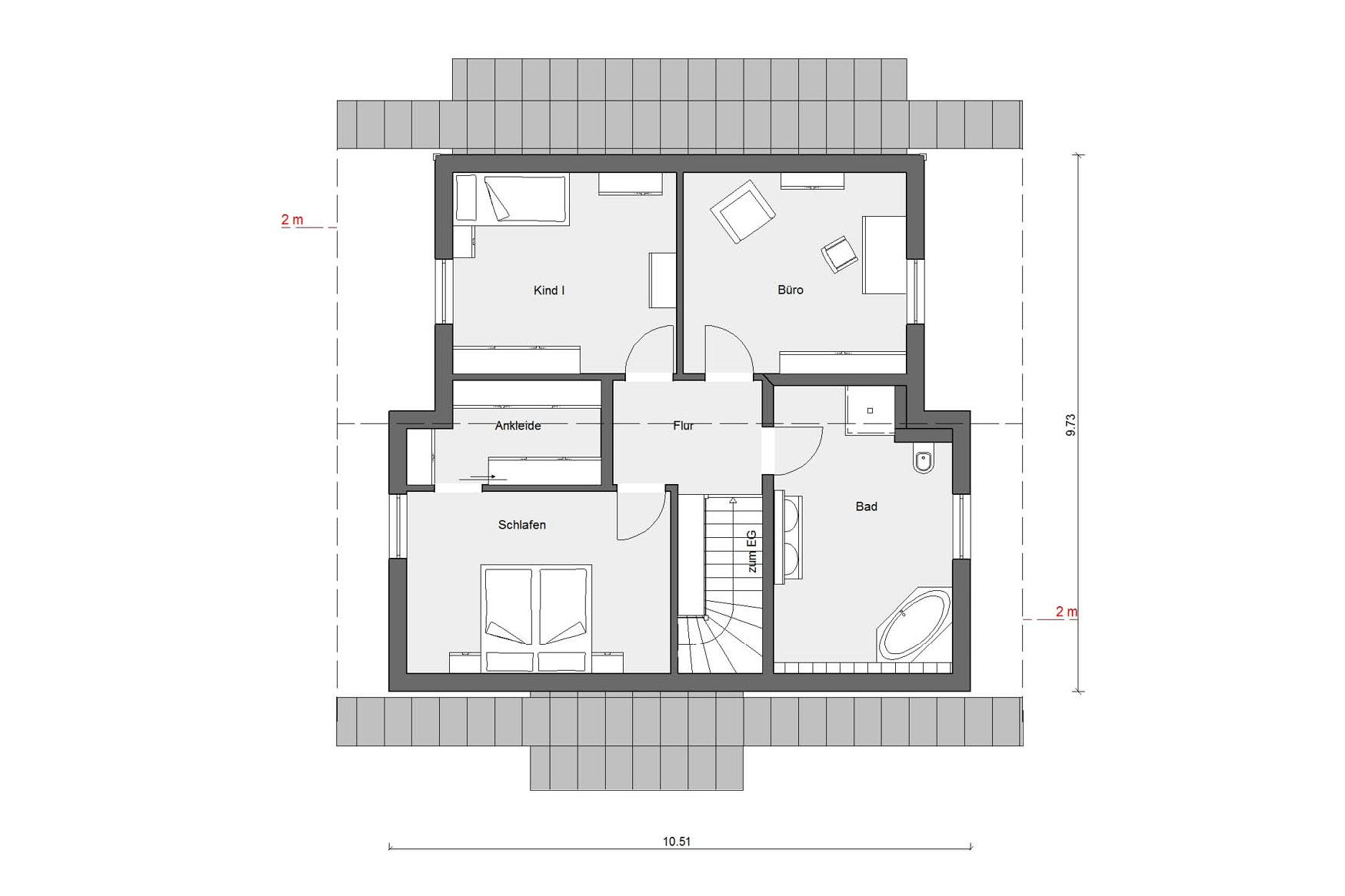 Floor plan attic E 15-146.1 modern prefabricated house