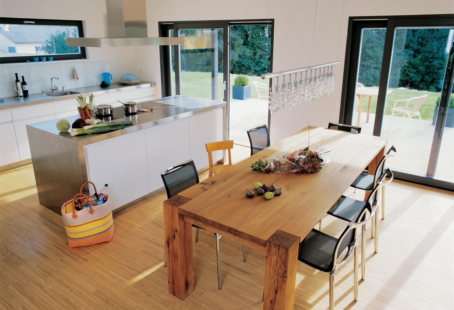 Open living-dining area with cooking island