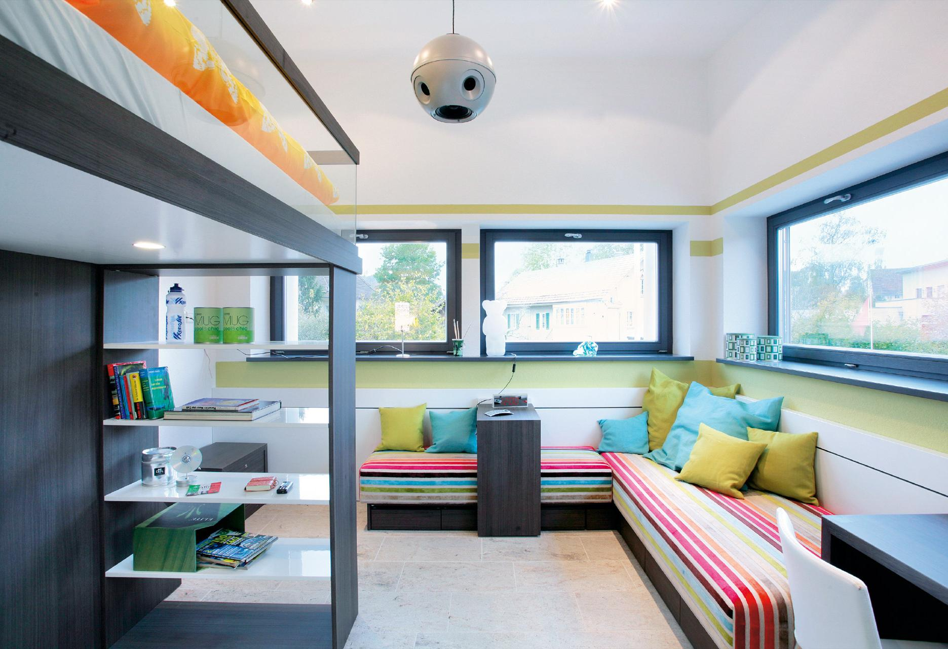Cool youth room with loft bed