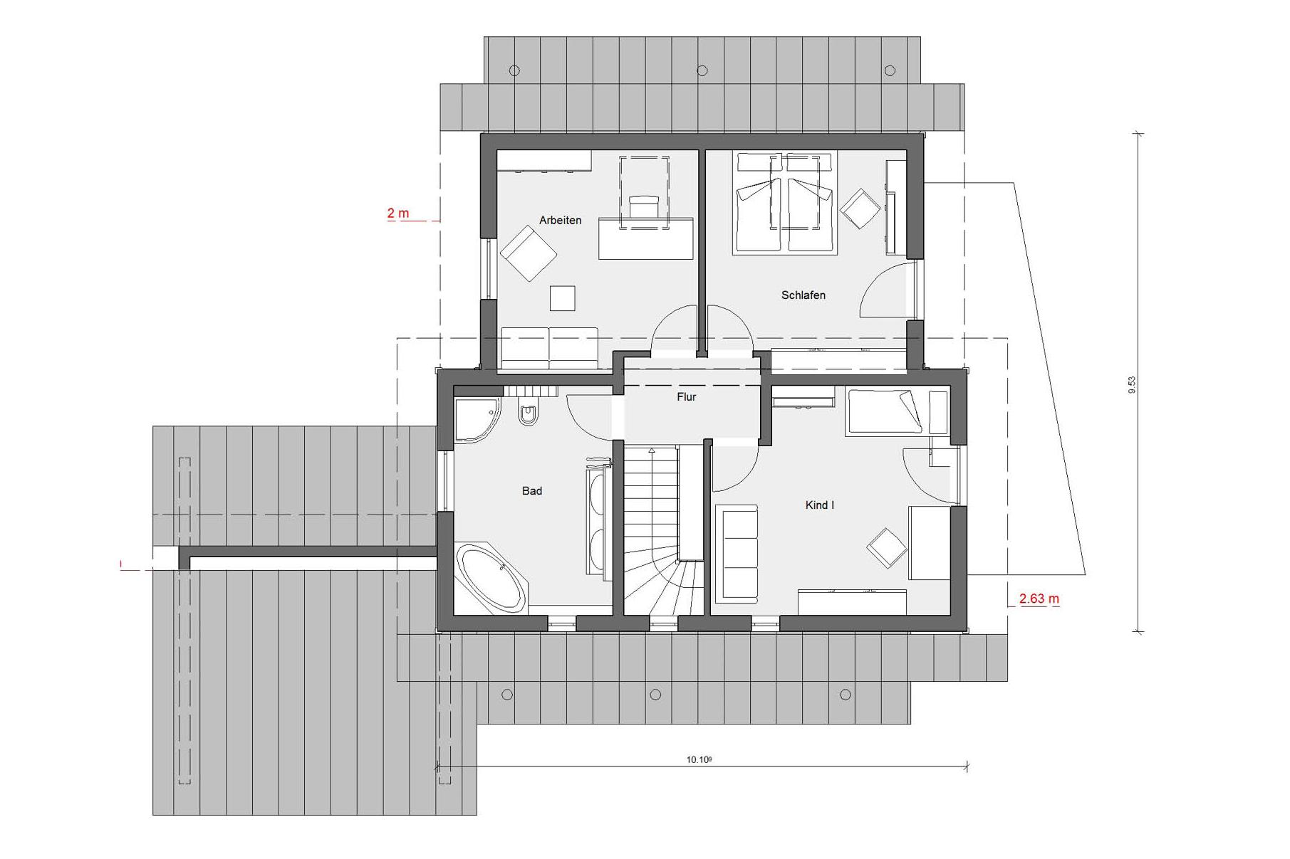 Plan d'étage grenier Young Family Home E 15-146.3
