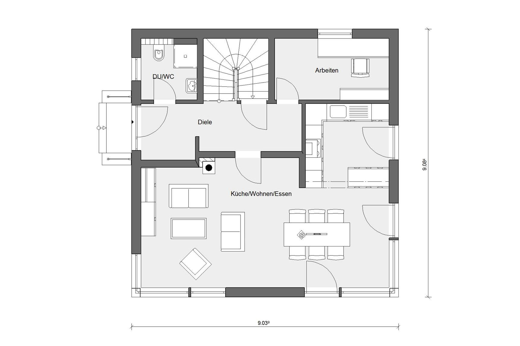 Floor plan ground floor prefabricated house with tent roof E 20-135.1