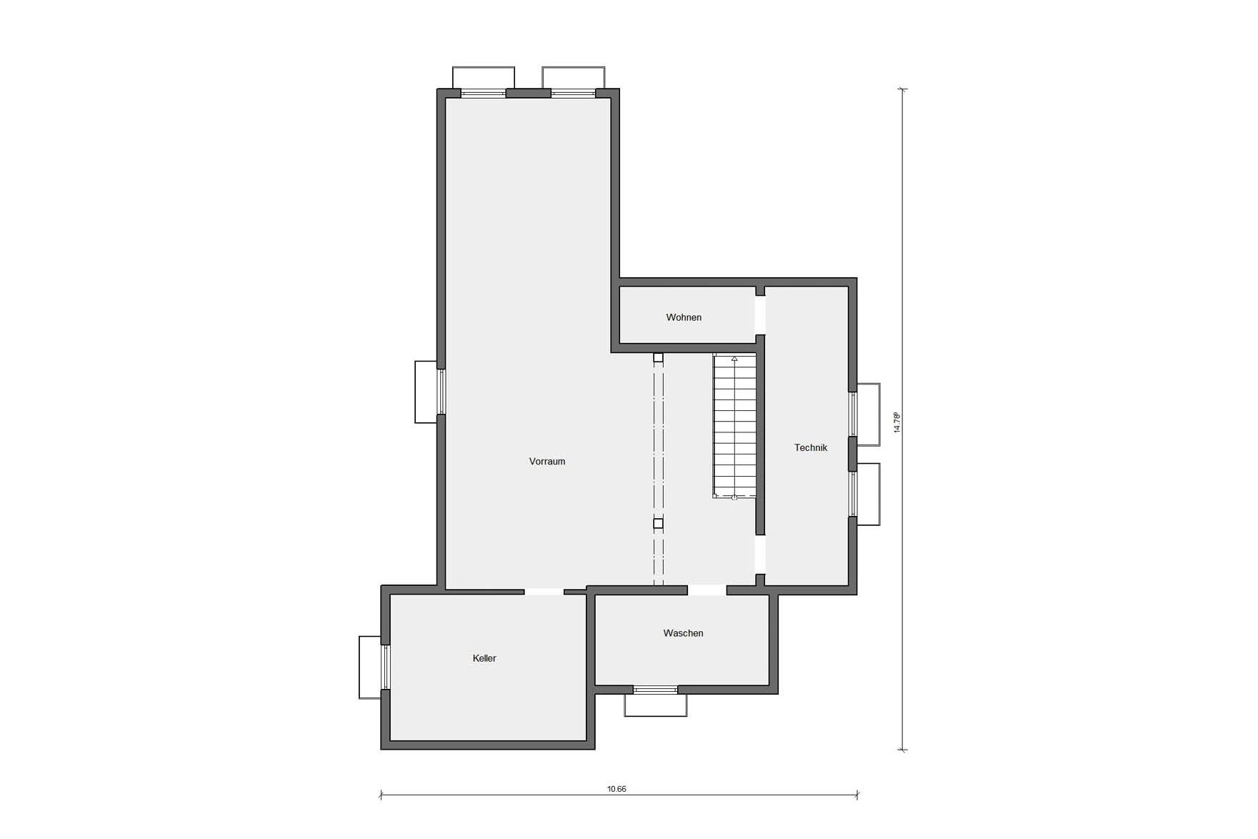 Ground floor basement Single-family house Bauhaus style with flat roof E 20-207.1