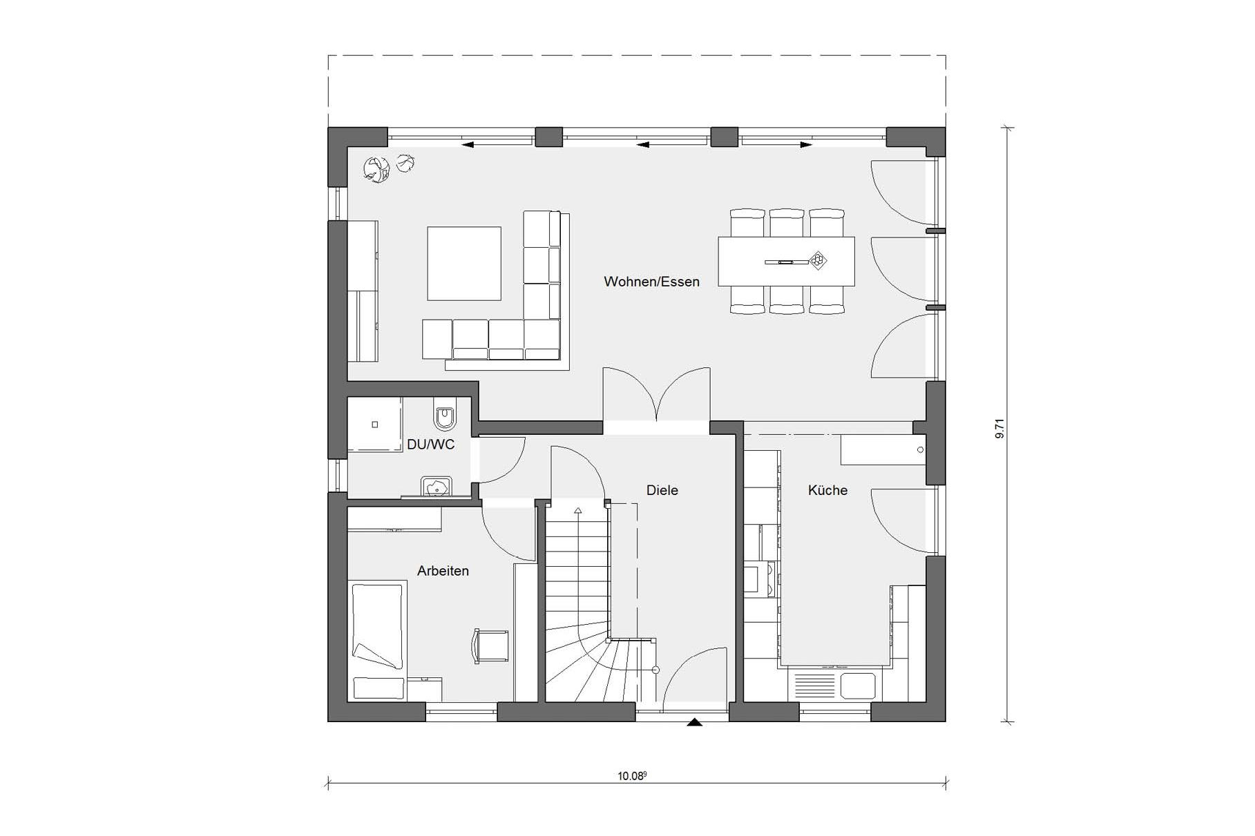 Floor plan ground floor house square E 15-159.2