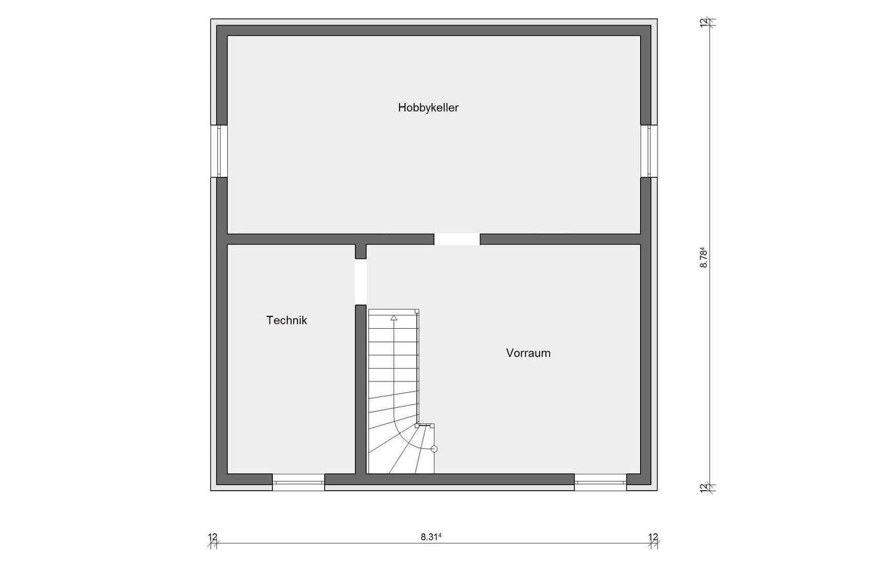 Basement floorplan E 15-127.9 Modern family house
