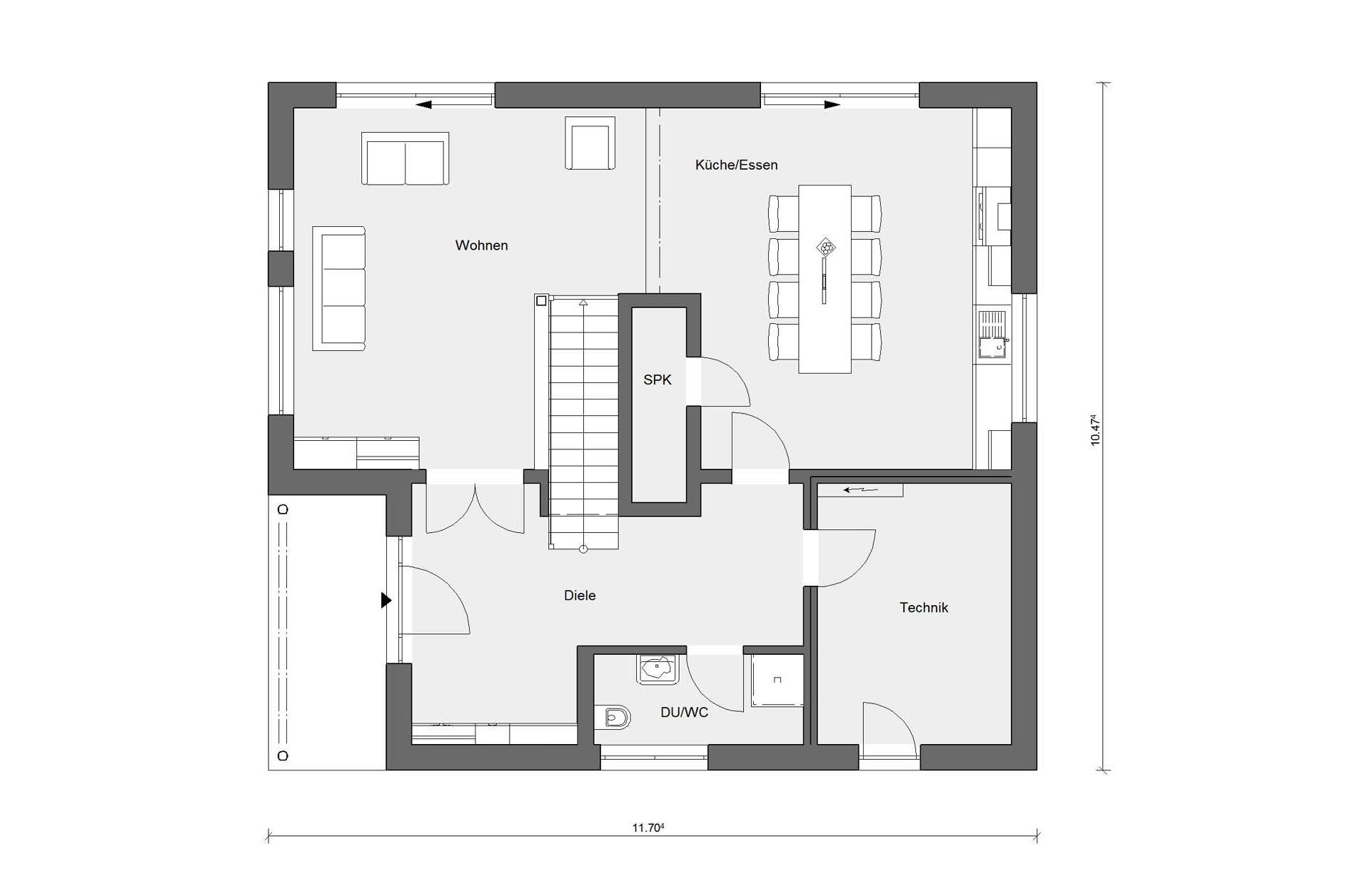 Floor plan ground floor prefabricated house in country style E 20-185.1