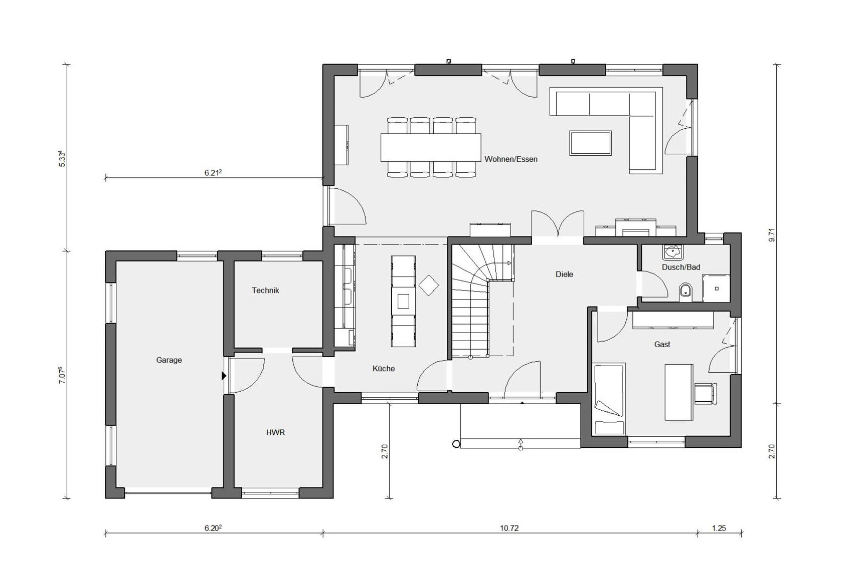 Floor plan ground floor Schwörer model house in Wadern-Nunkirchen