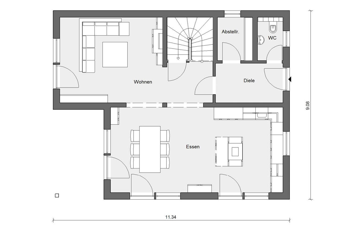 Ground floor layout E 15-153.2 Detached house with double garage