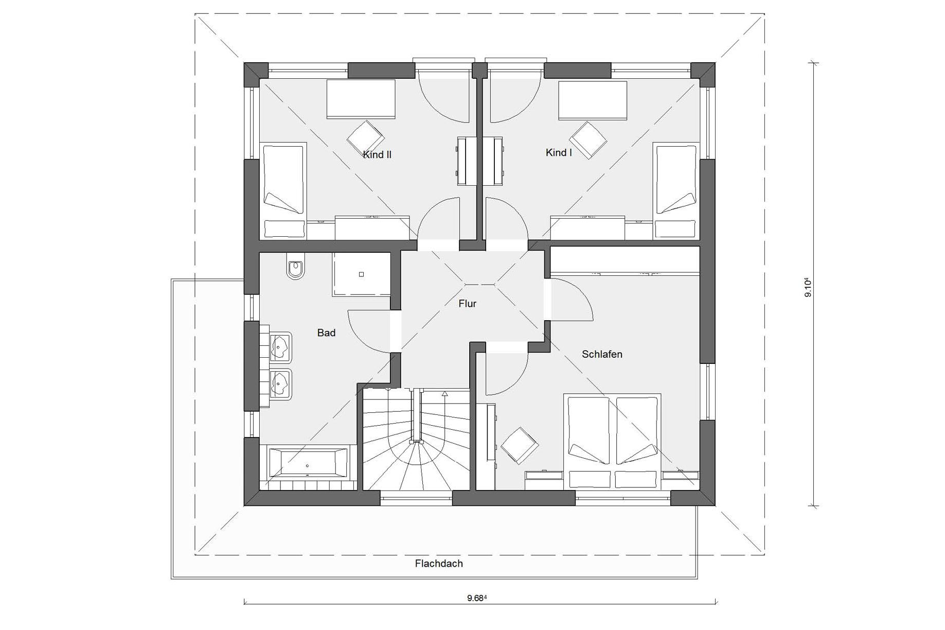 Floor plan attic E 20-144.3 Modern townhouse