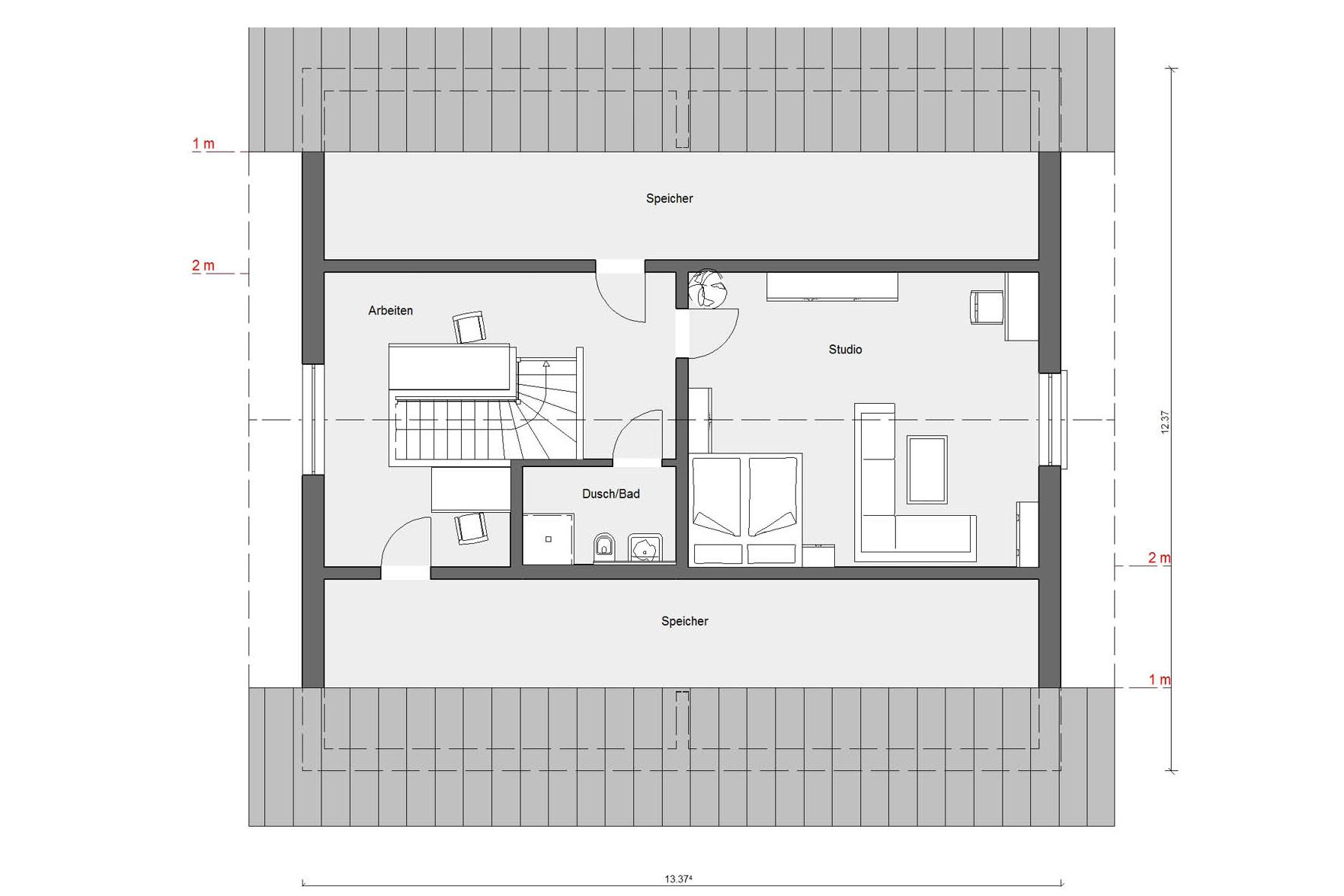 Floor plan penthouse E 15-264.1 Bungalow with pitched roof