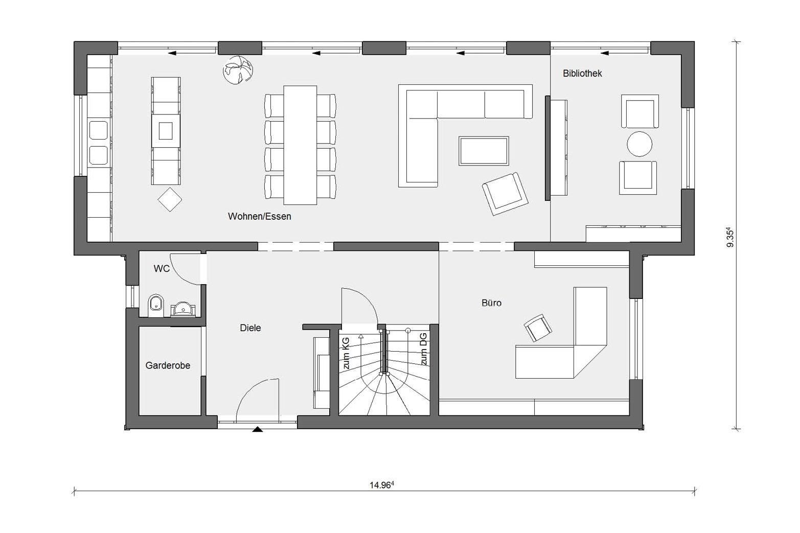 Ground floor plan E 15-217.1 Prefabricated house with 200sqm