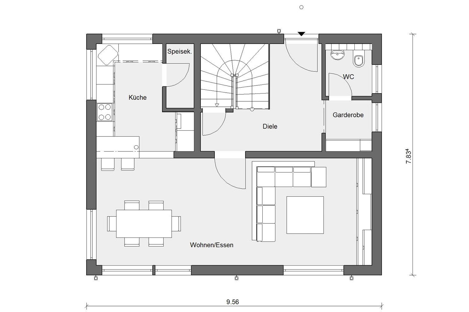 Ground floor floorplan E 15-123.4 compact single-family dwelling