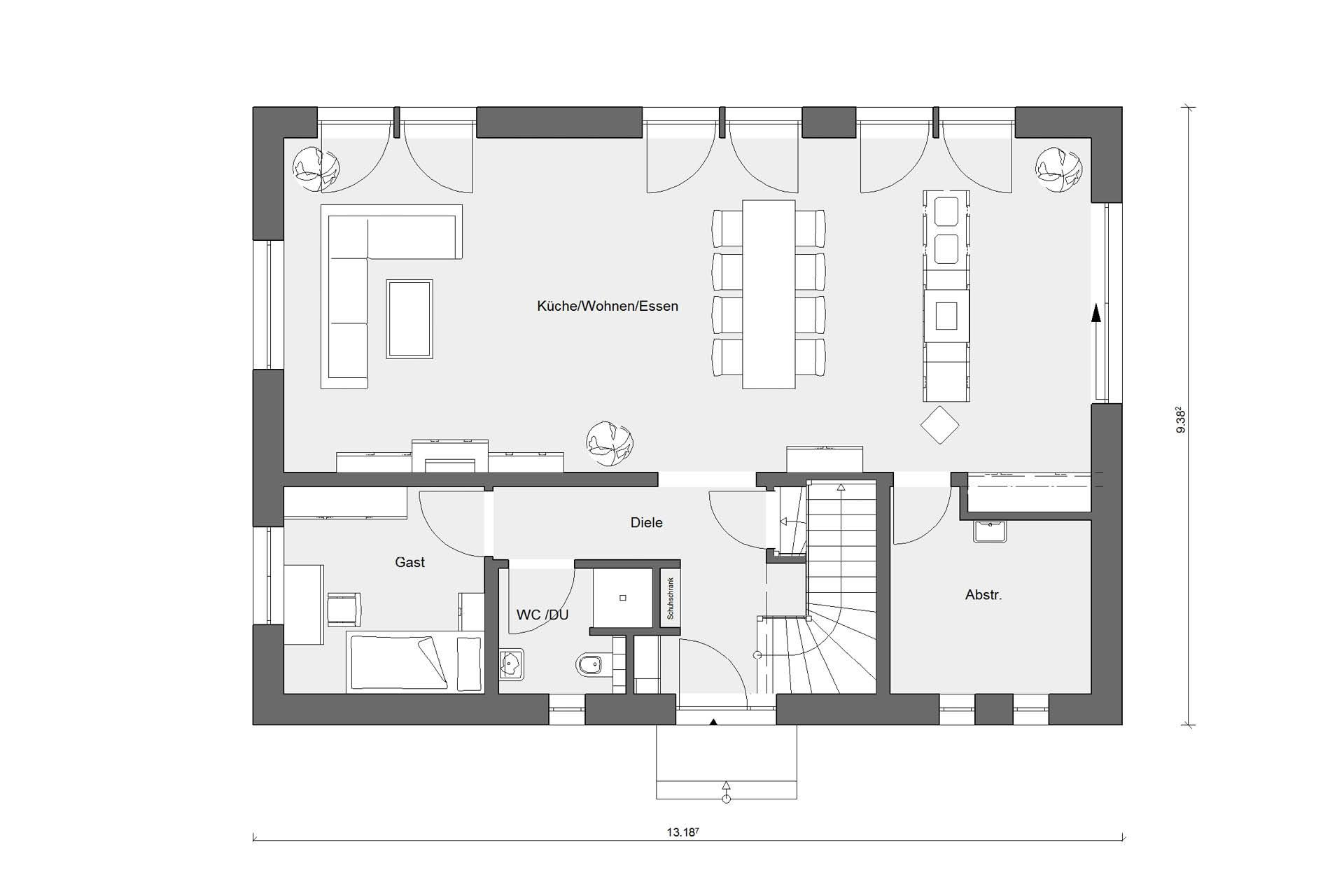 Floor plan ground floor energy-saving house E 20-196.1