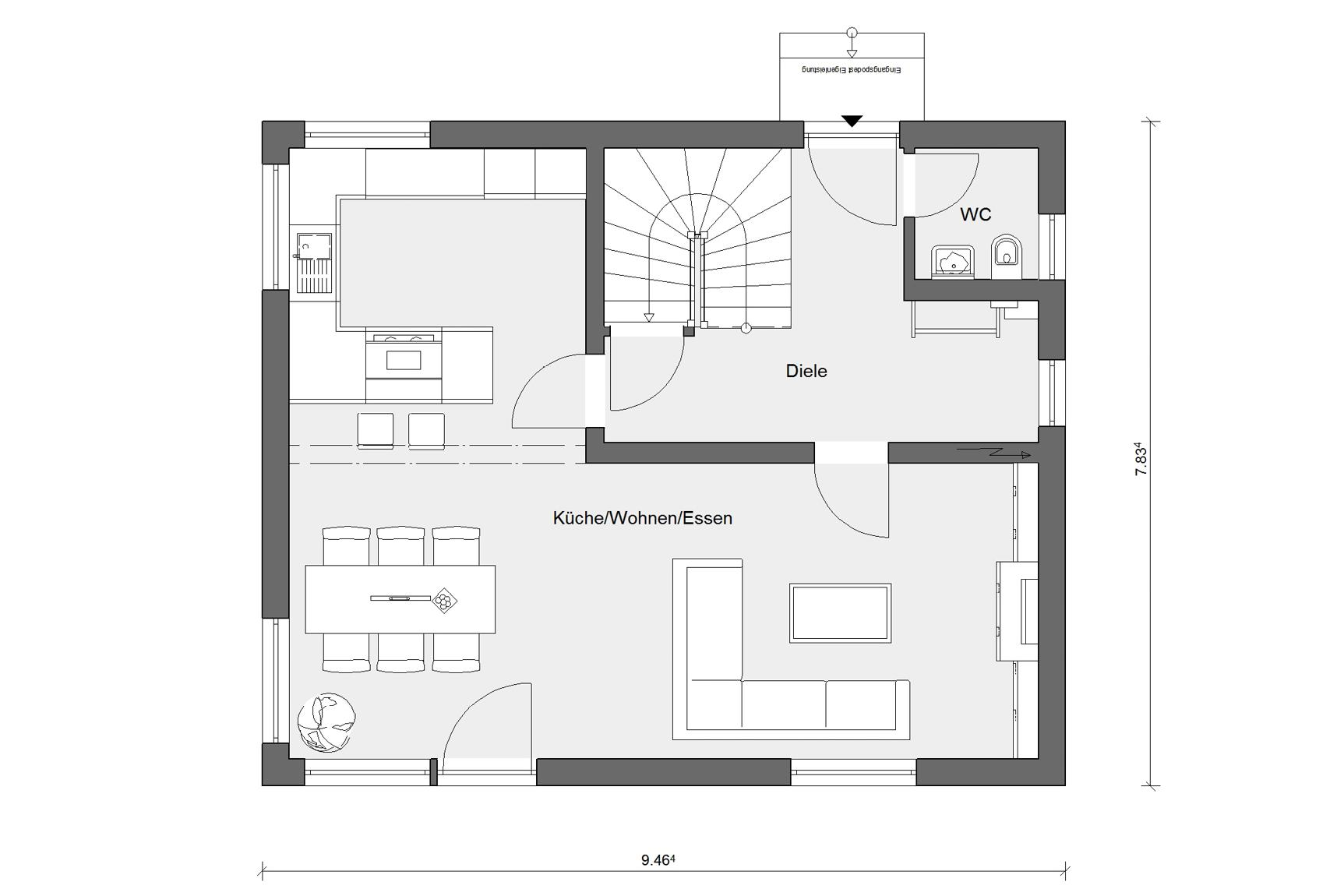 Floor plan ground floor E 15-121.9 House with pitched roof