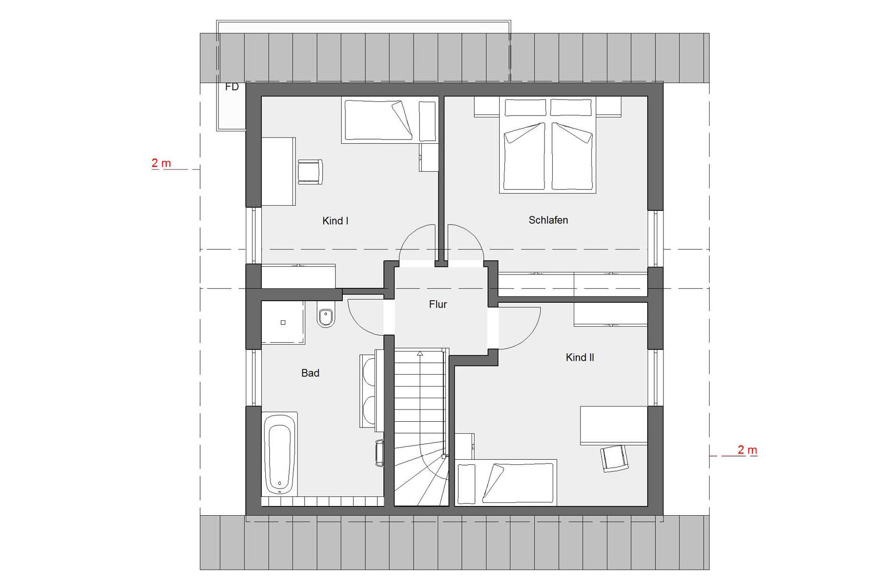 Attic floorplan E 15-128.3 Houses with offset pent roof