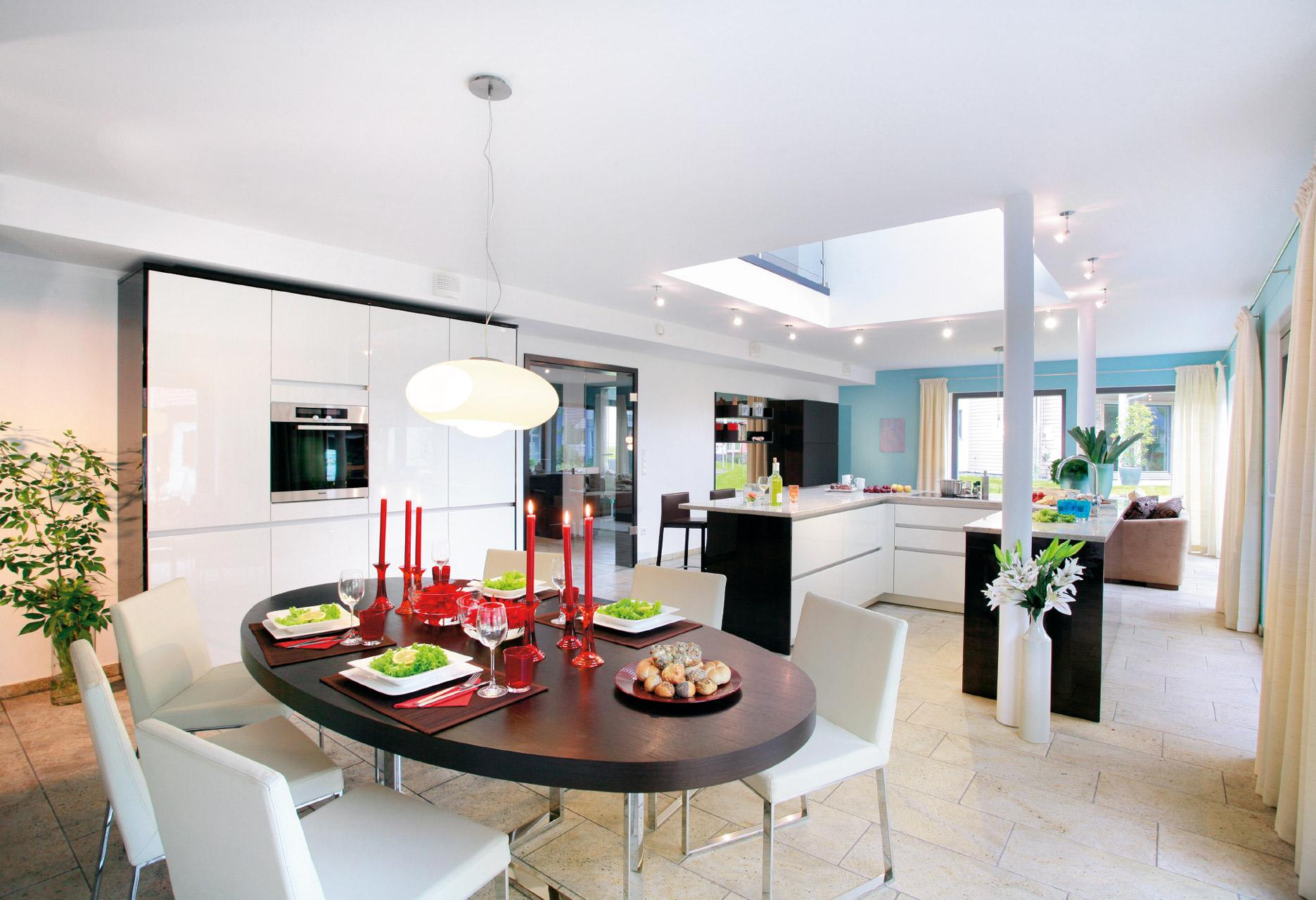 Open living, dining and cooking area