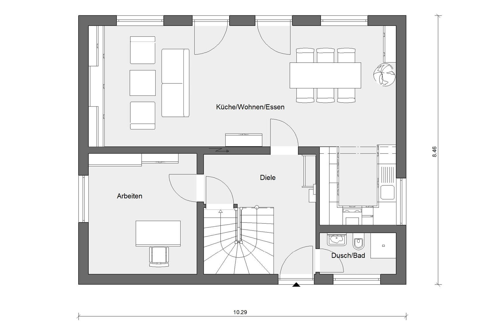 Floor plan ground floor E 15-143.15 House with flat roof dormer