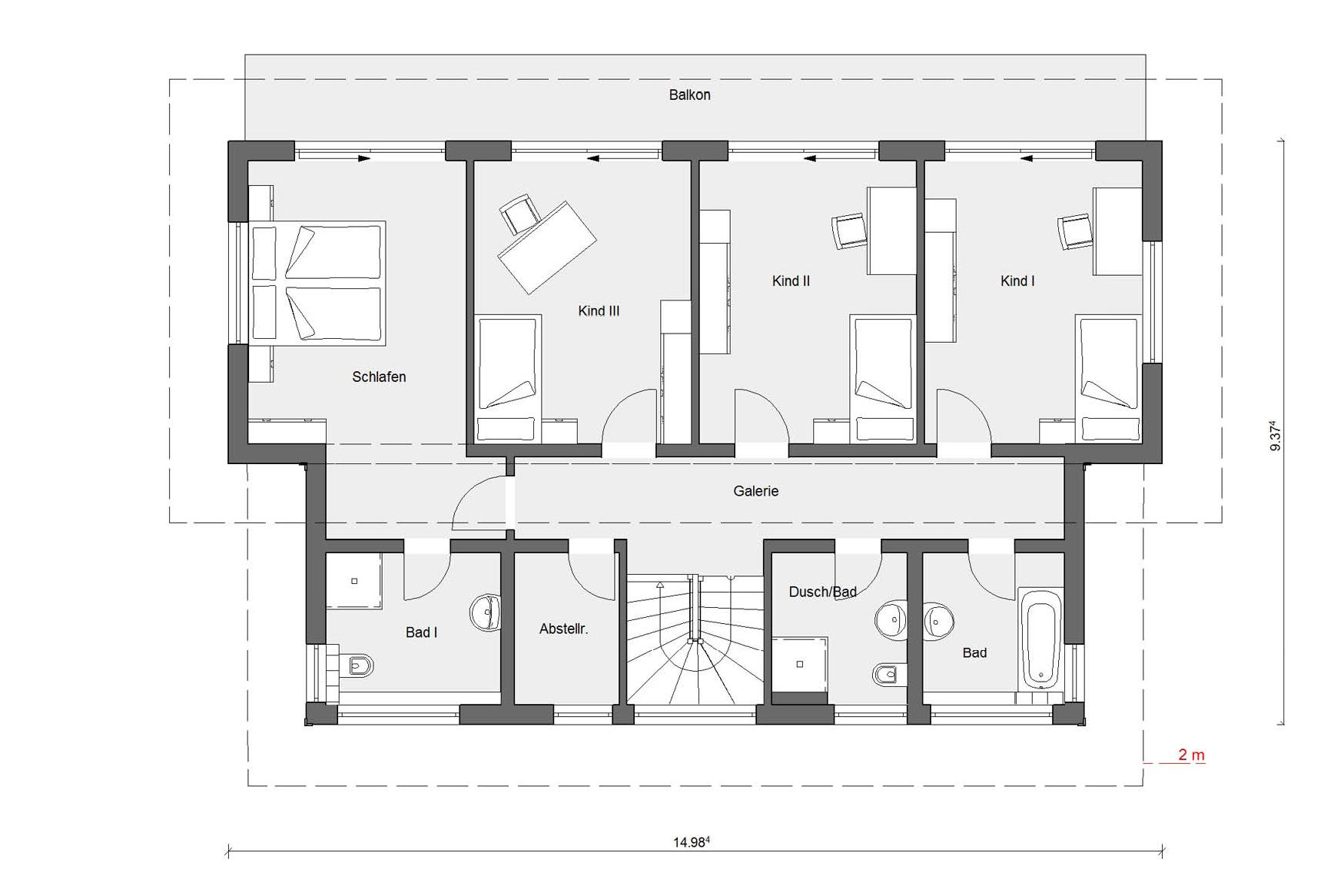 Floor plan attic E 15-217.1 prefabricated house with 200sqm
