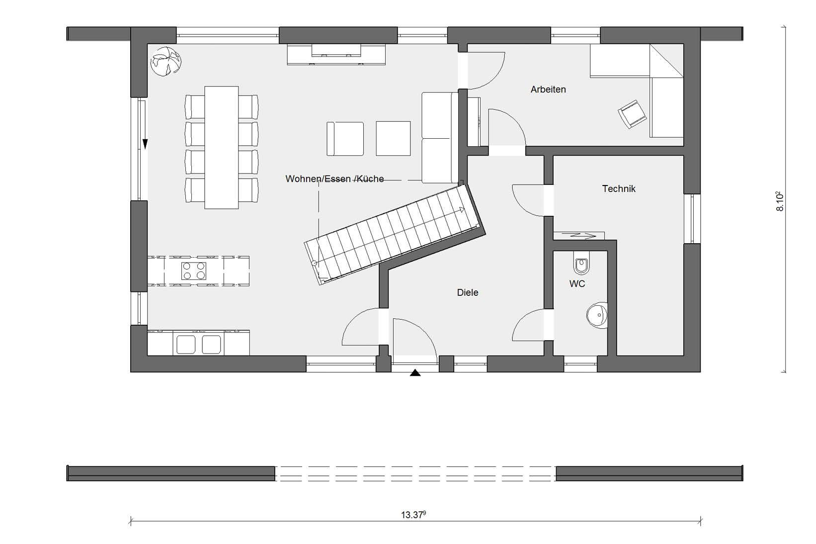 Ground floor plan E 15-170.1 prefabricated house with energy plus