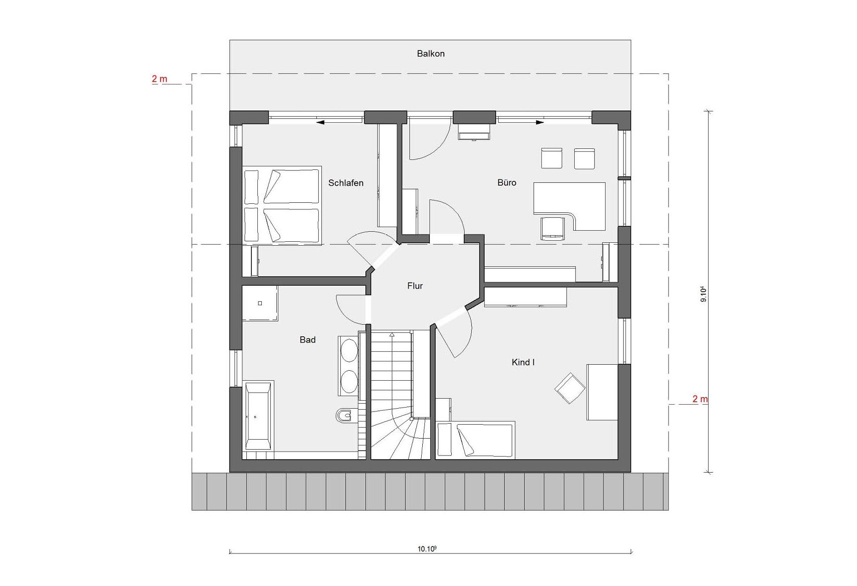 Floor plan attic house square E 15-159.2