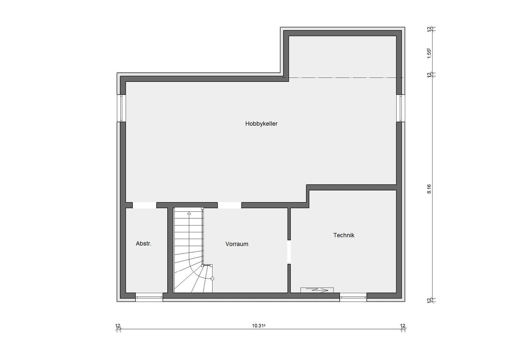 Basement floor plan Prefabricated house with wooden facade E 20-159.1