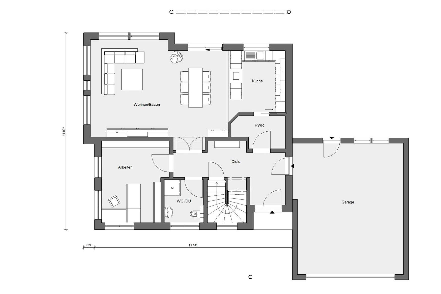 Ground floor plan E 15-201.1 Energy Plus house with low energy