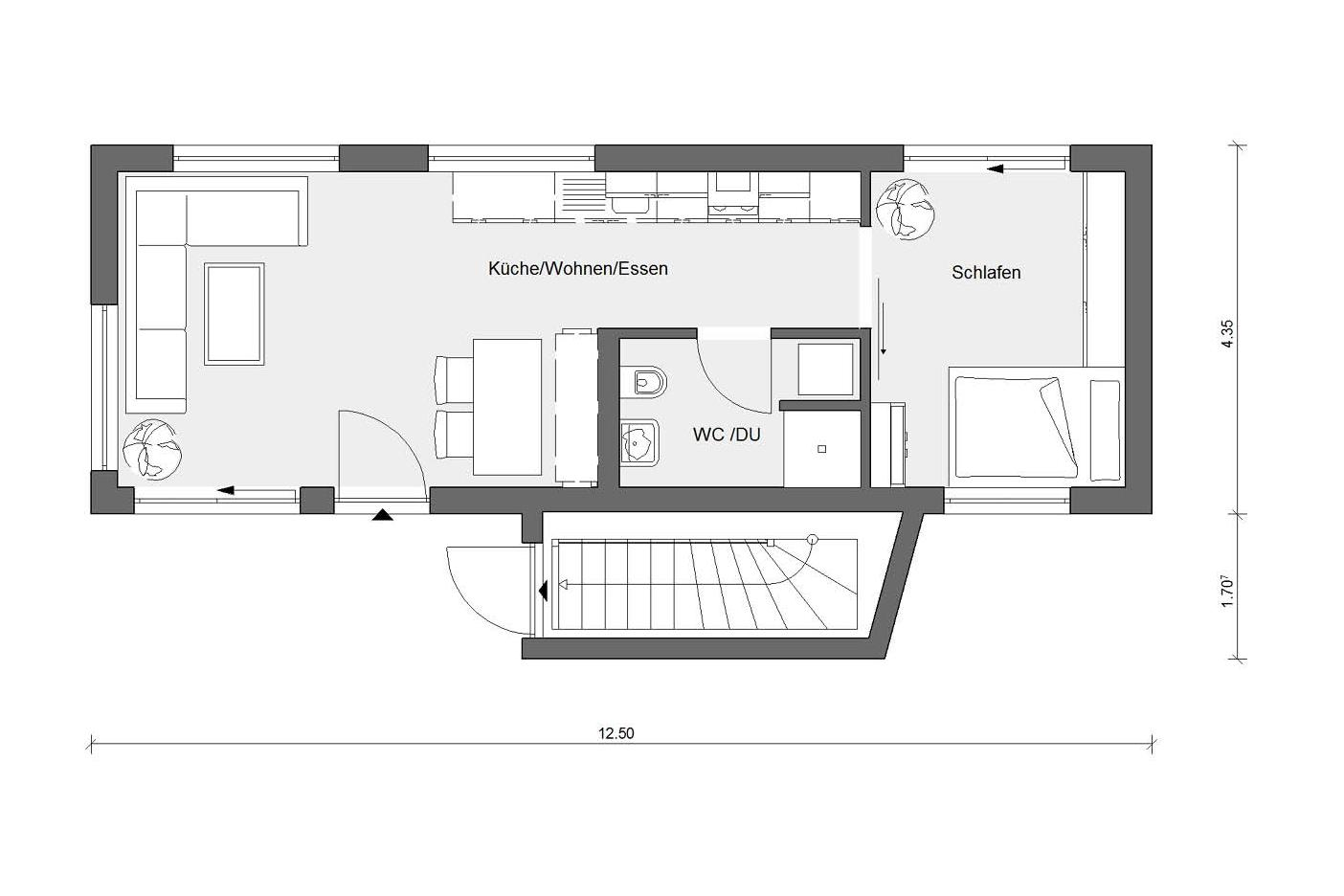 Floor plan modular house bungalow F 10-043.7