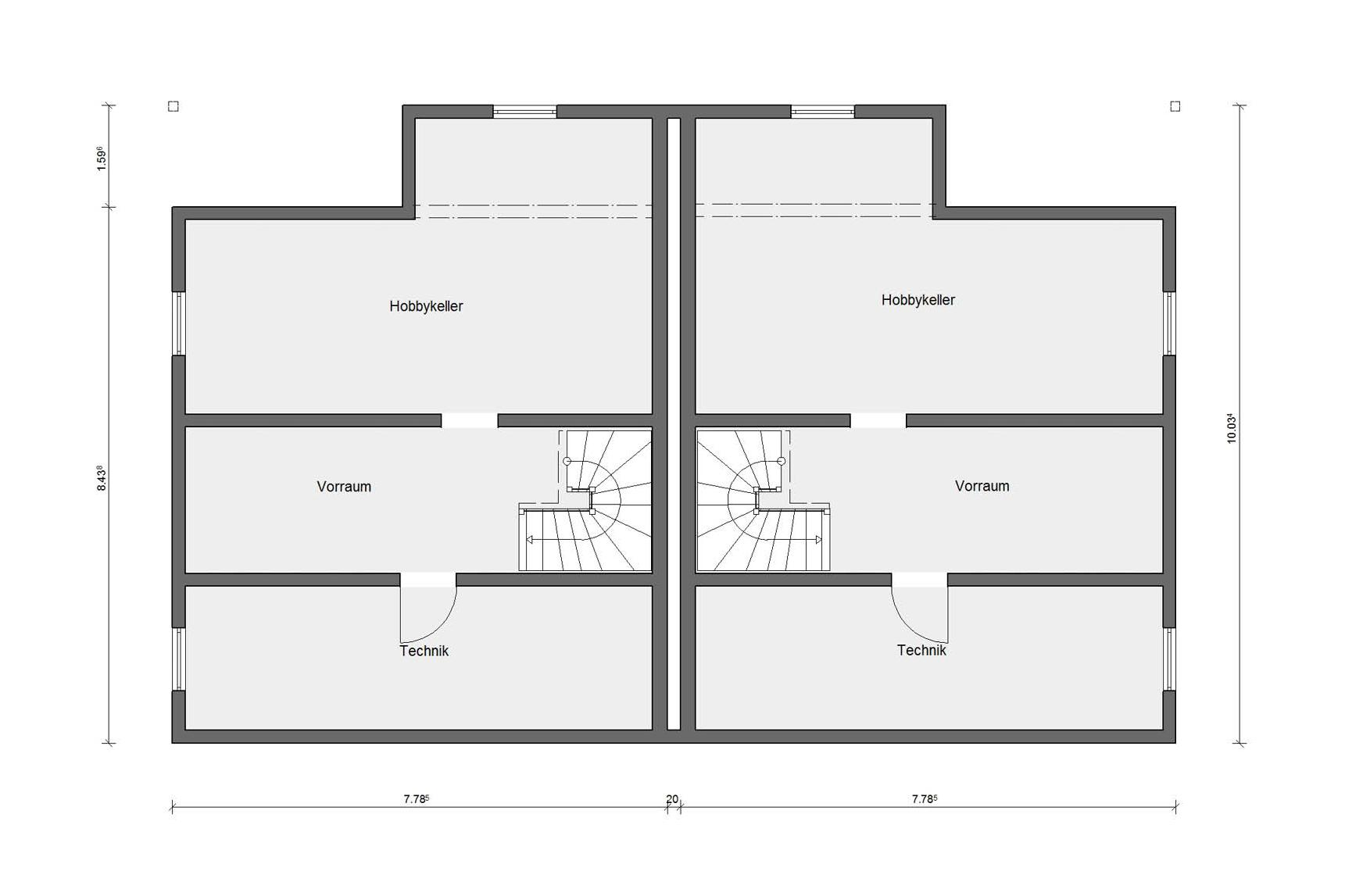 Basement floor plan semi-detached house with covered patio