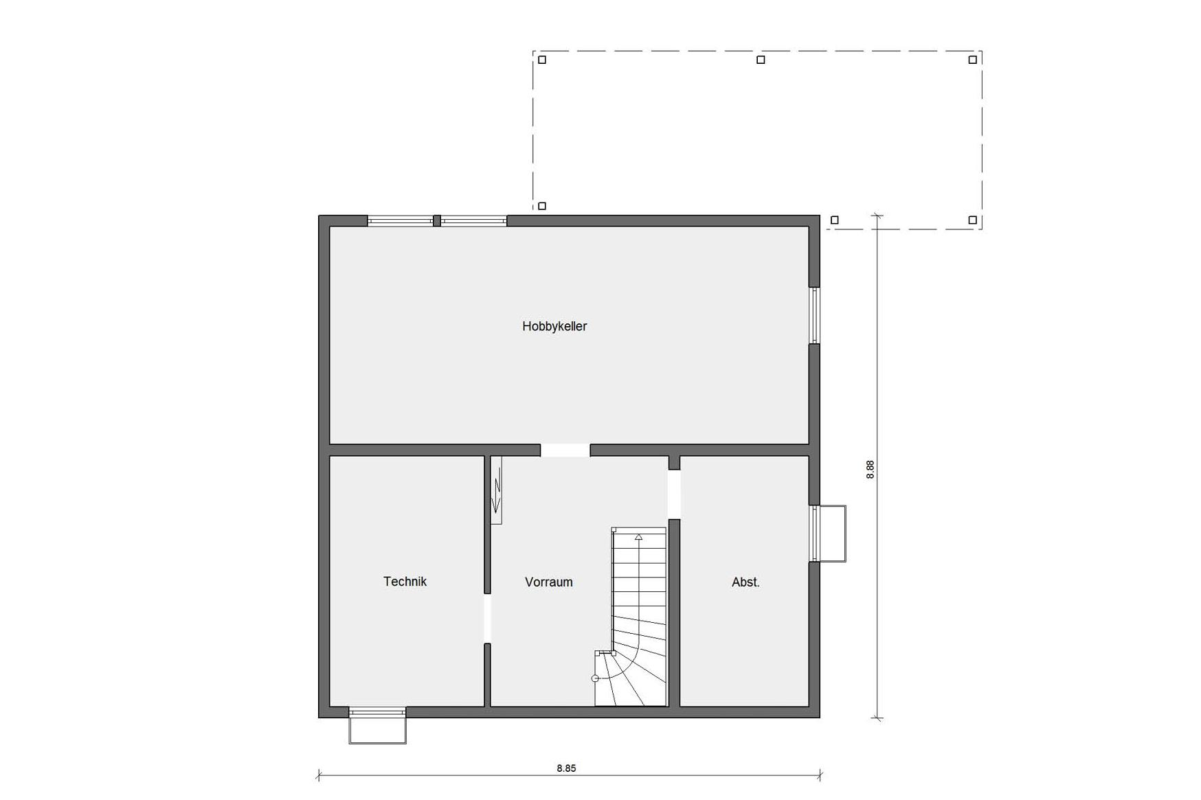 Floor plan basement D 15-134.1 Semi-detached house in the Swedish style