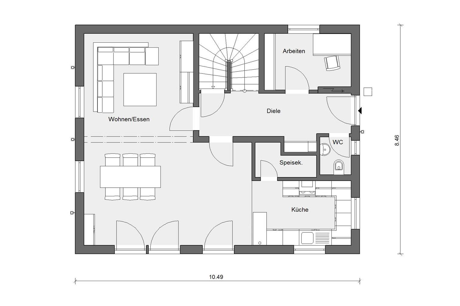 Floor plan ground floor E 15-147.3 Detached house with terrace