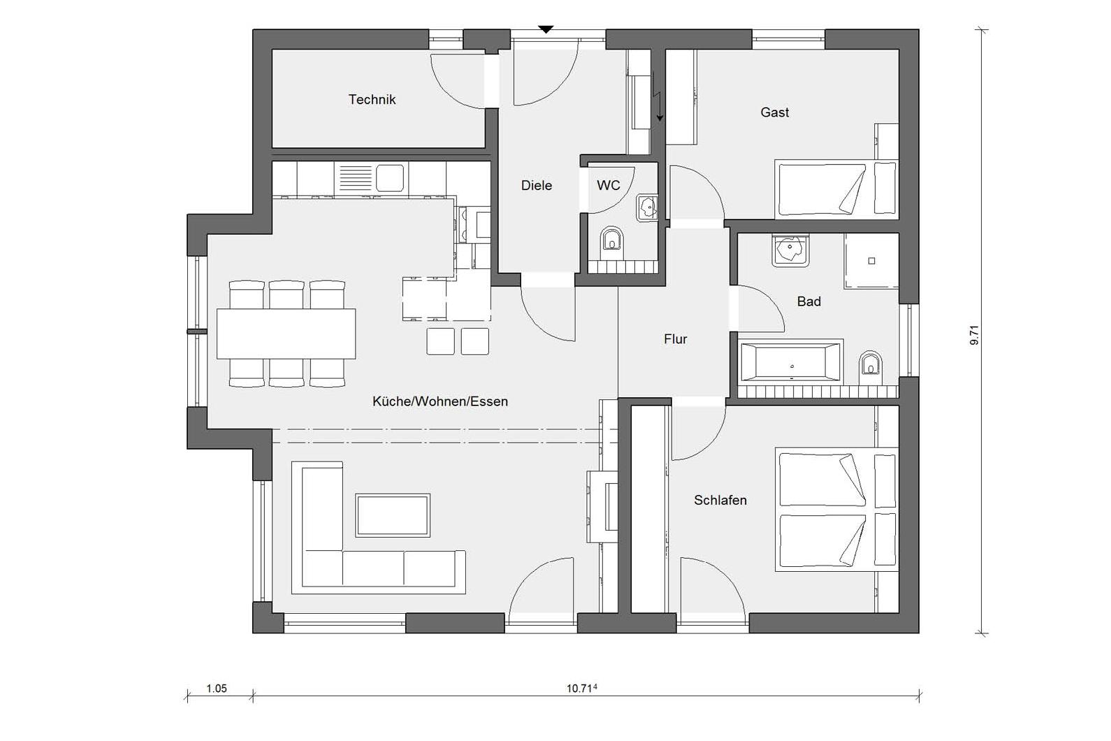 Ground floor plan E 10-089.1 Bungalow with bay window