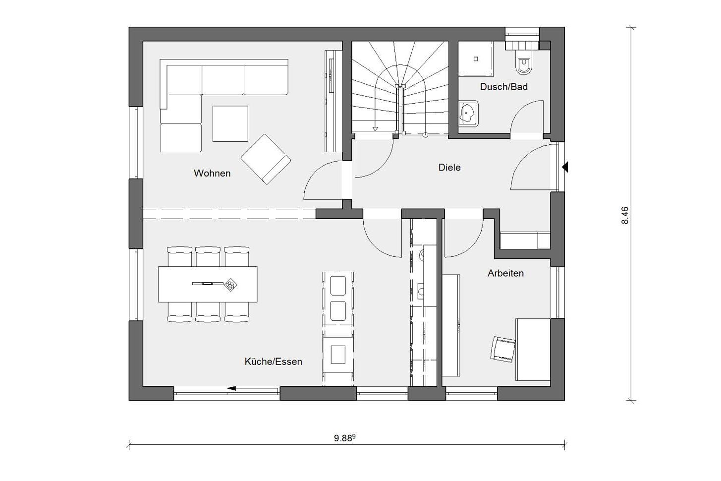 Floor plan ground floor E 15-137.4 Detached house with pitched roof