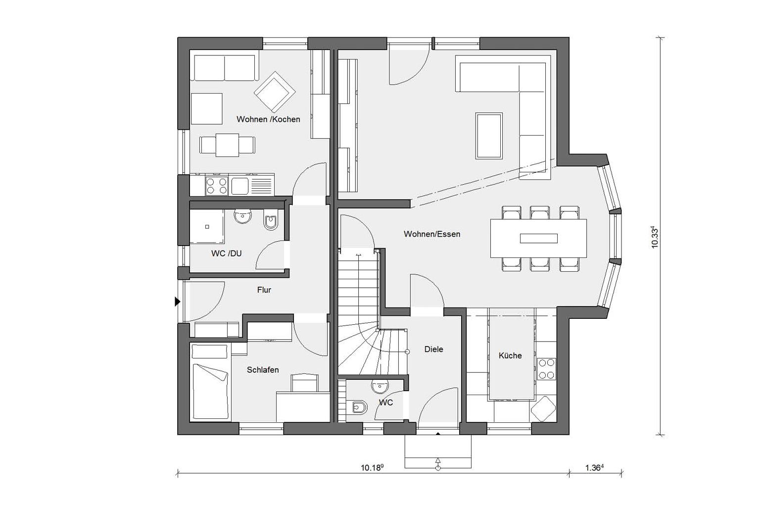 Floor plan ground floor M-15 178.1 Prefabricated house with granny flat