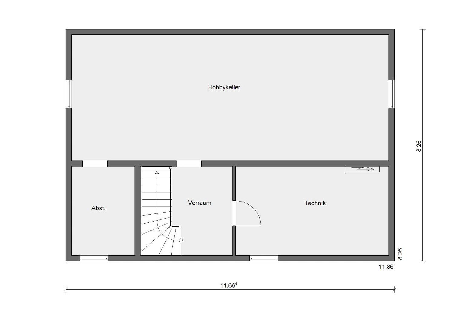 Floor plan basement E 20-165.4 prefab house modern