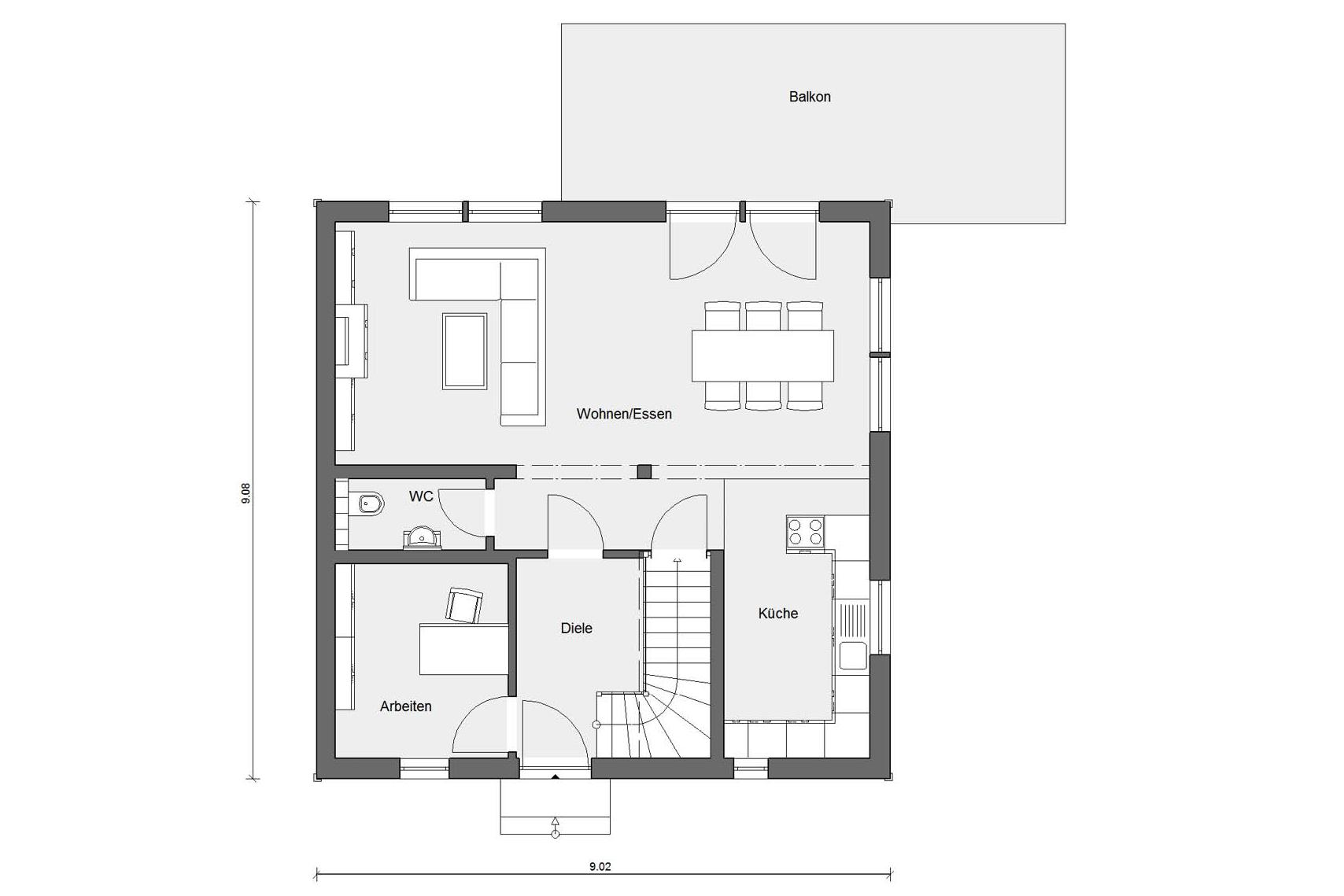 Floor plan ground floor D 15-134.1 Semi-detached house in the Swedish style