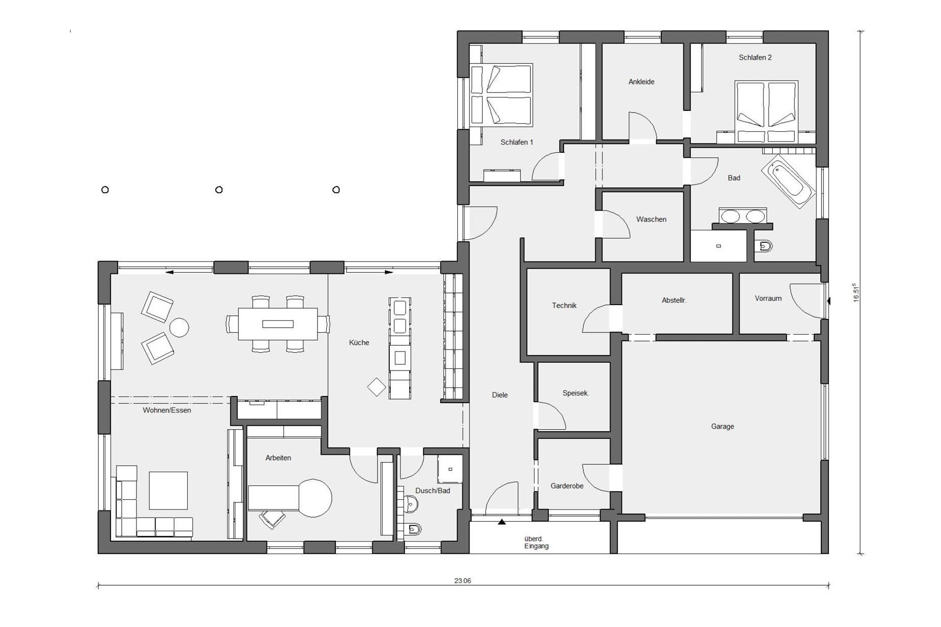 Ground floor plan E 10-206.1 Bungalow in L-shape