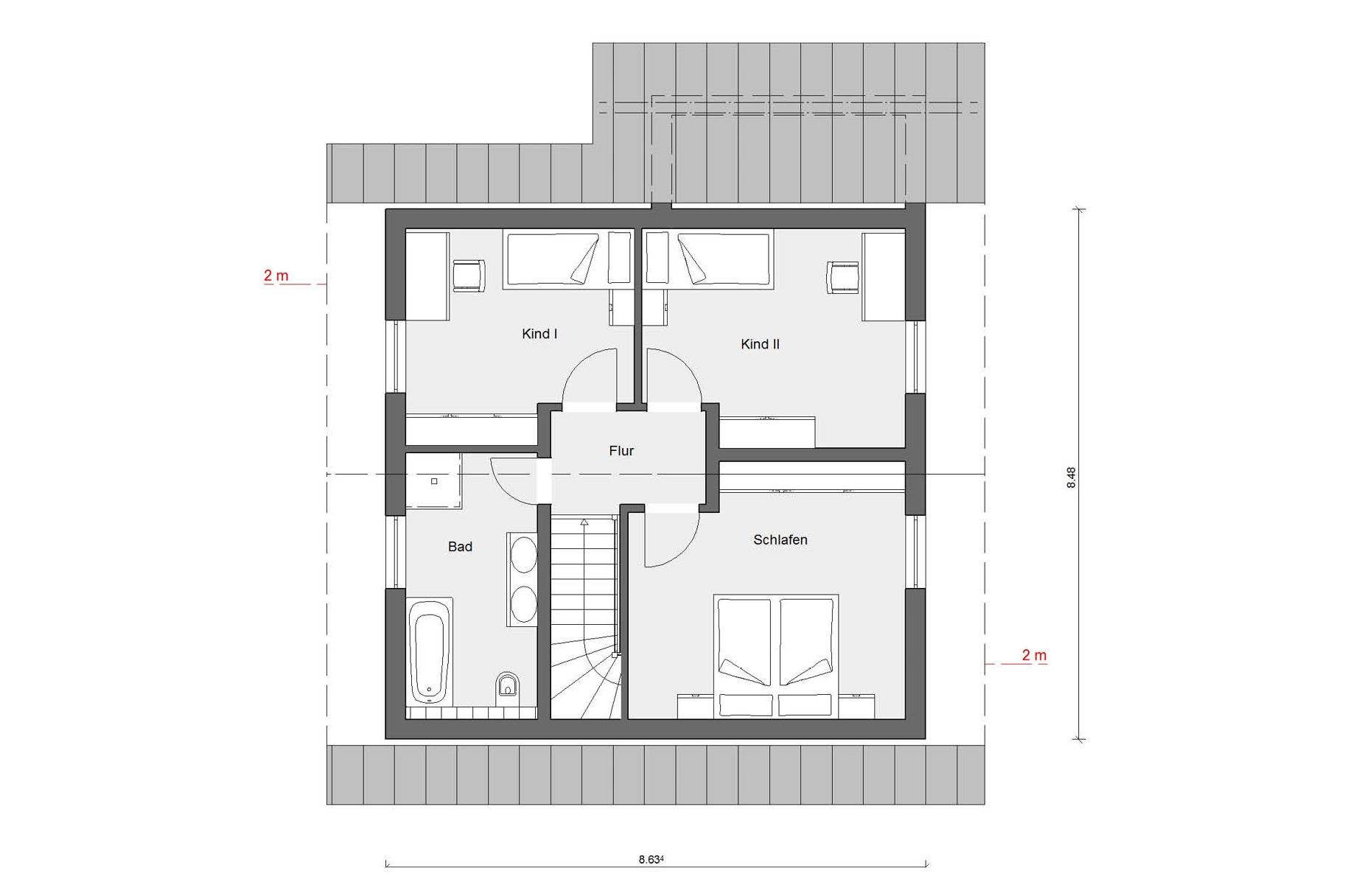 Attic floor plan E 15-126.7 Attractive architecture