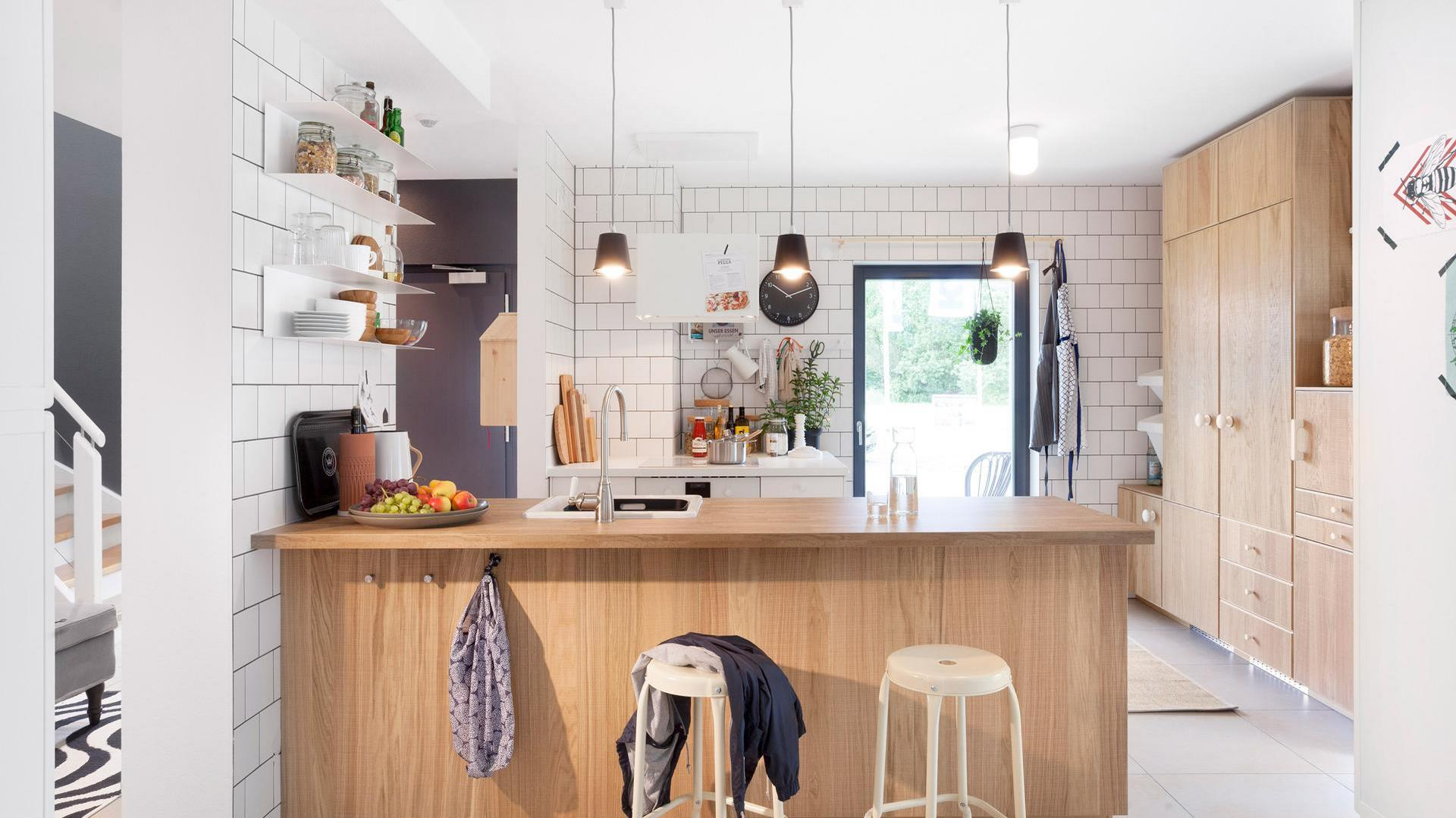 Kitchen with wooden furniture by ikea