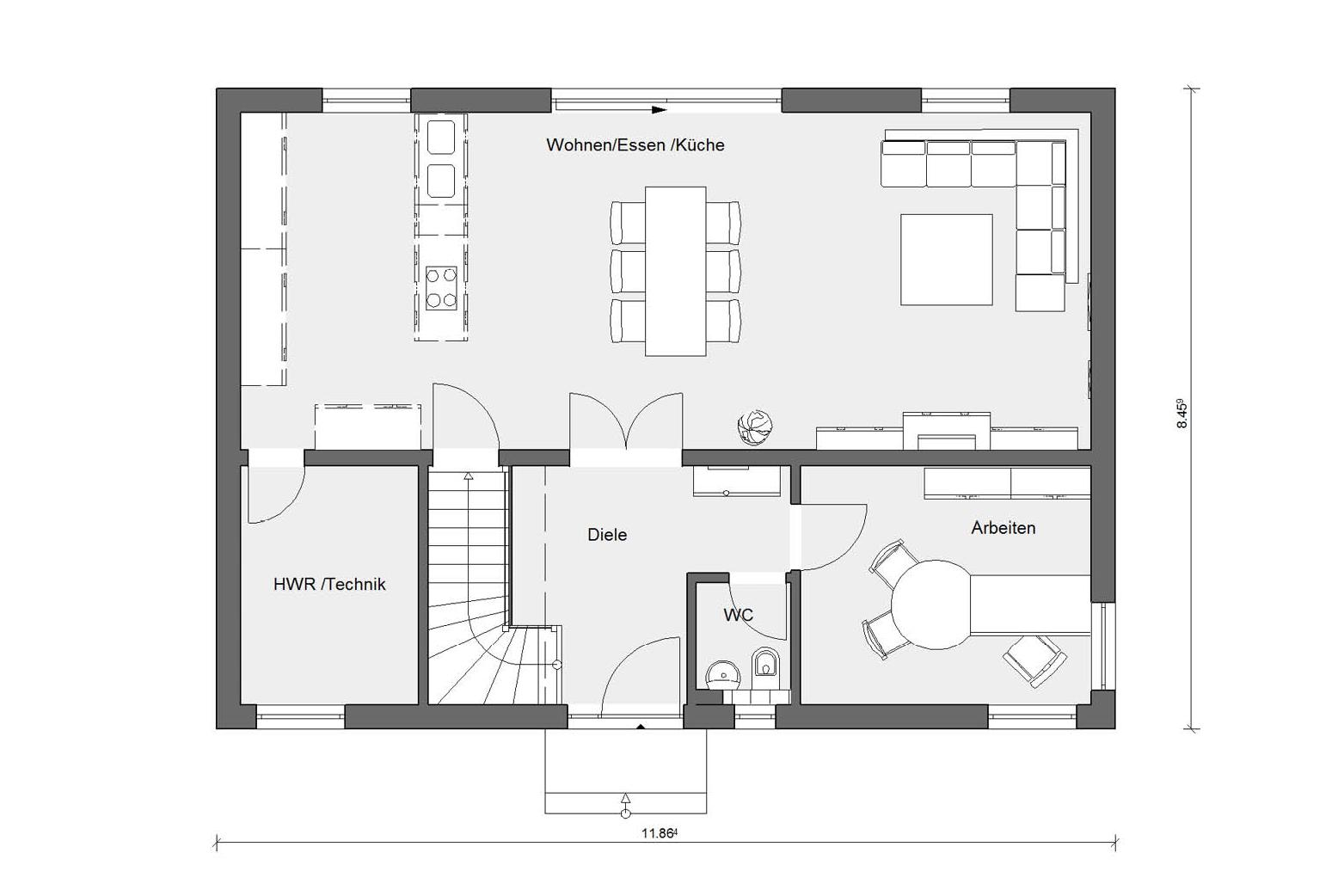 Ground floor floor plan Prefabricated house with 3 children's rooms E 20-165.6