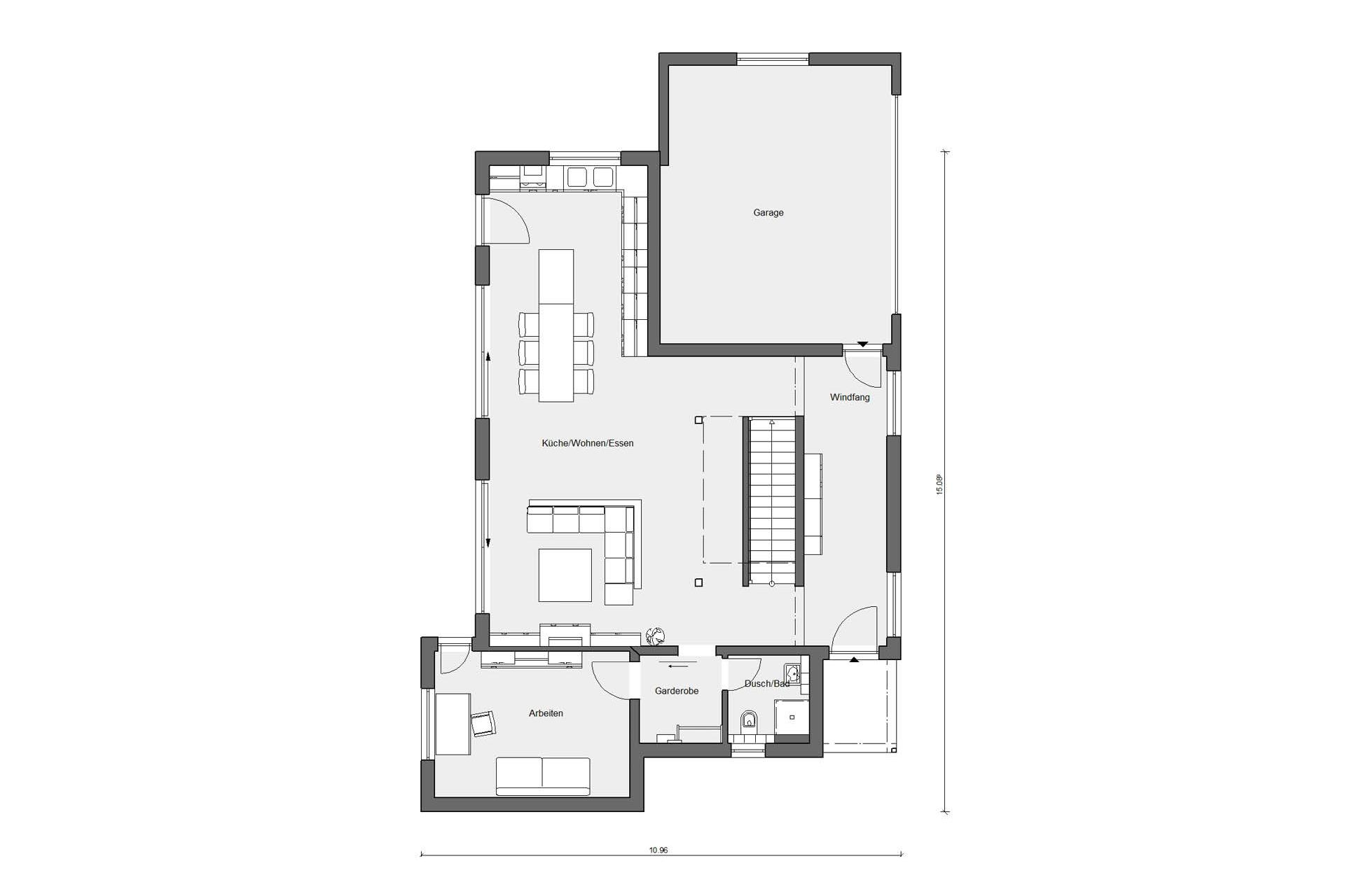 Floor plan ground floor Bauhaus style with flat roof E 20-207.1