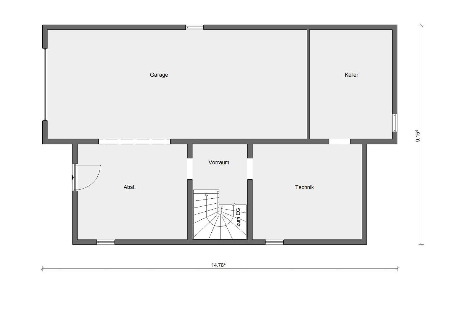 Floor plan basement E 15-217.1 prefabricated house with 200sqm