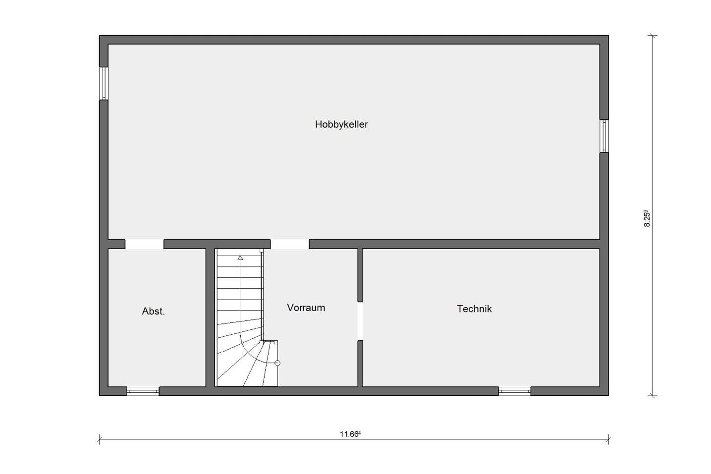 Basement floor plan prefabricated house with 3 children's rooms E 20-165.6