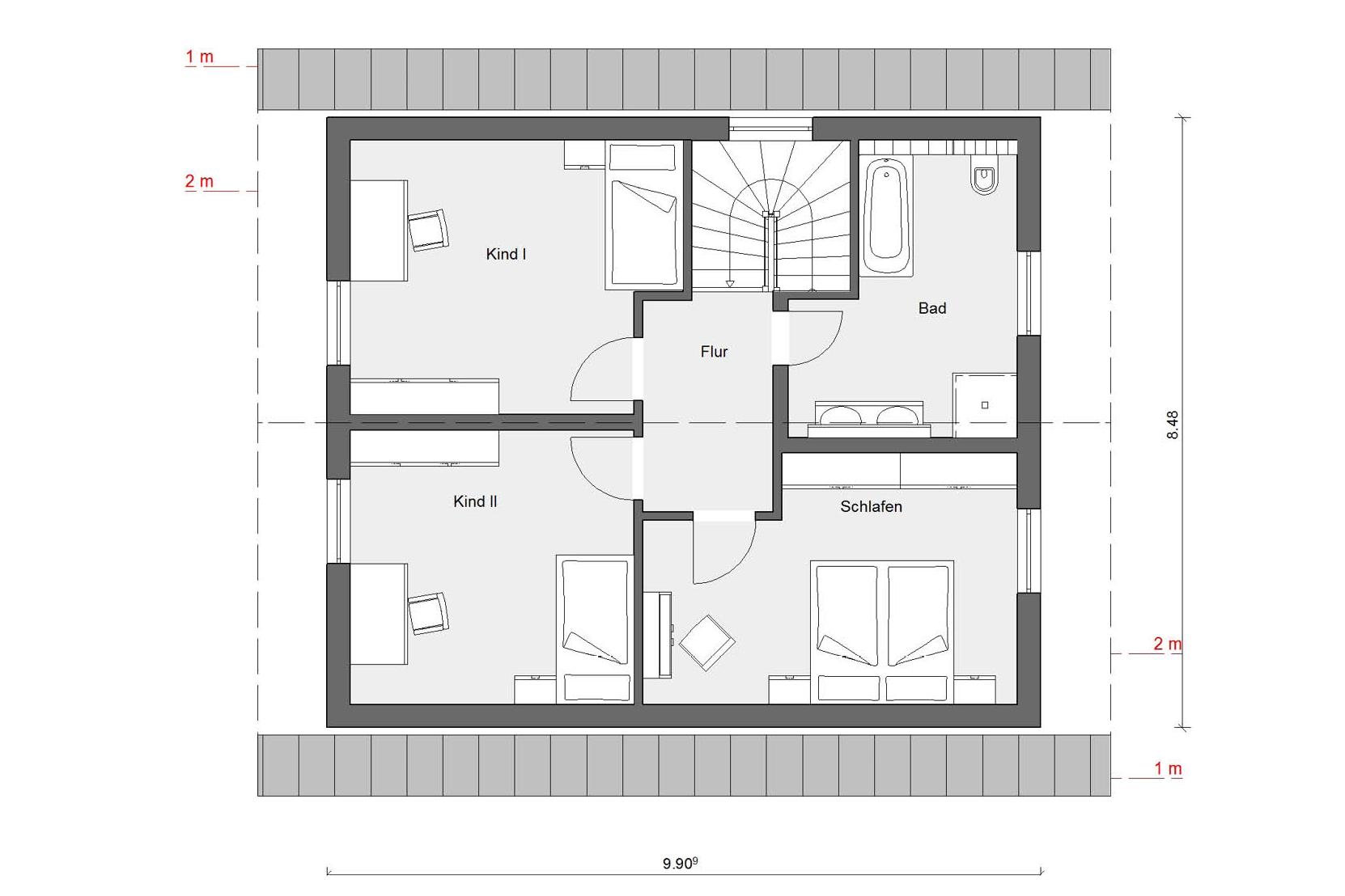 Floor plan attic E 15-137.4 Detached house with pitched roof