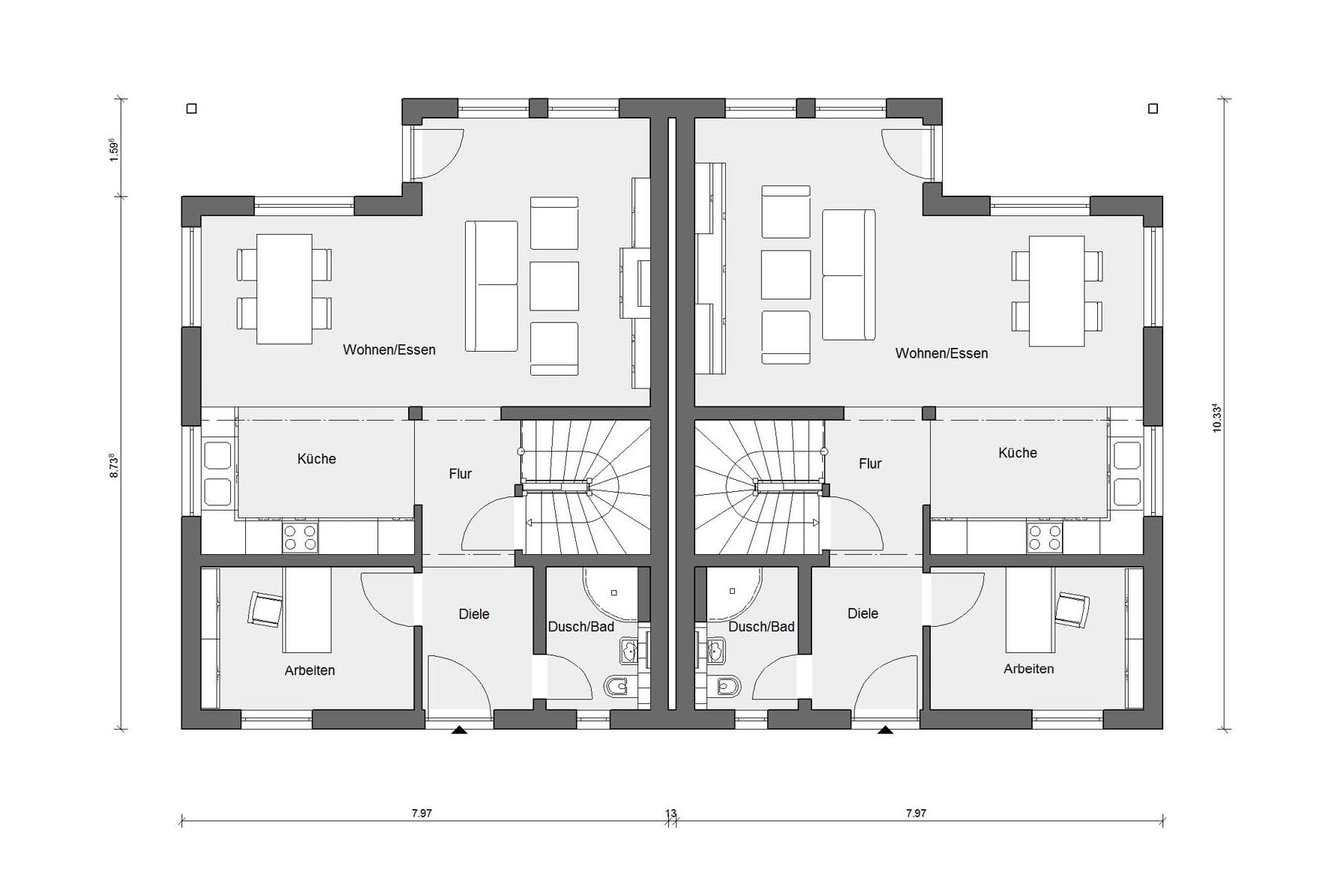 Ground floor floor plan semi-detached house with covered patio