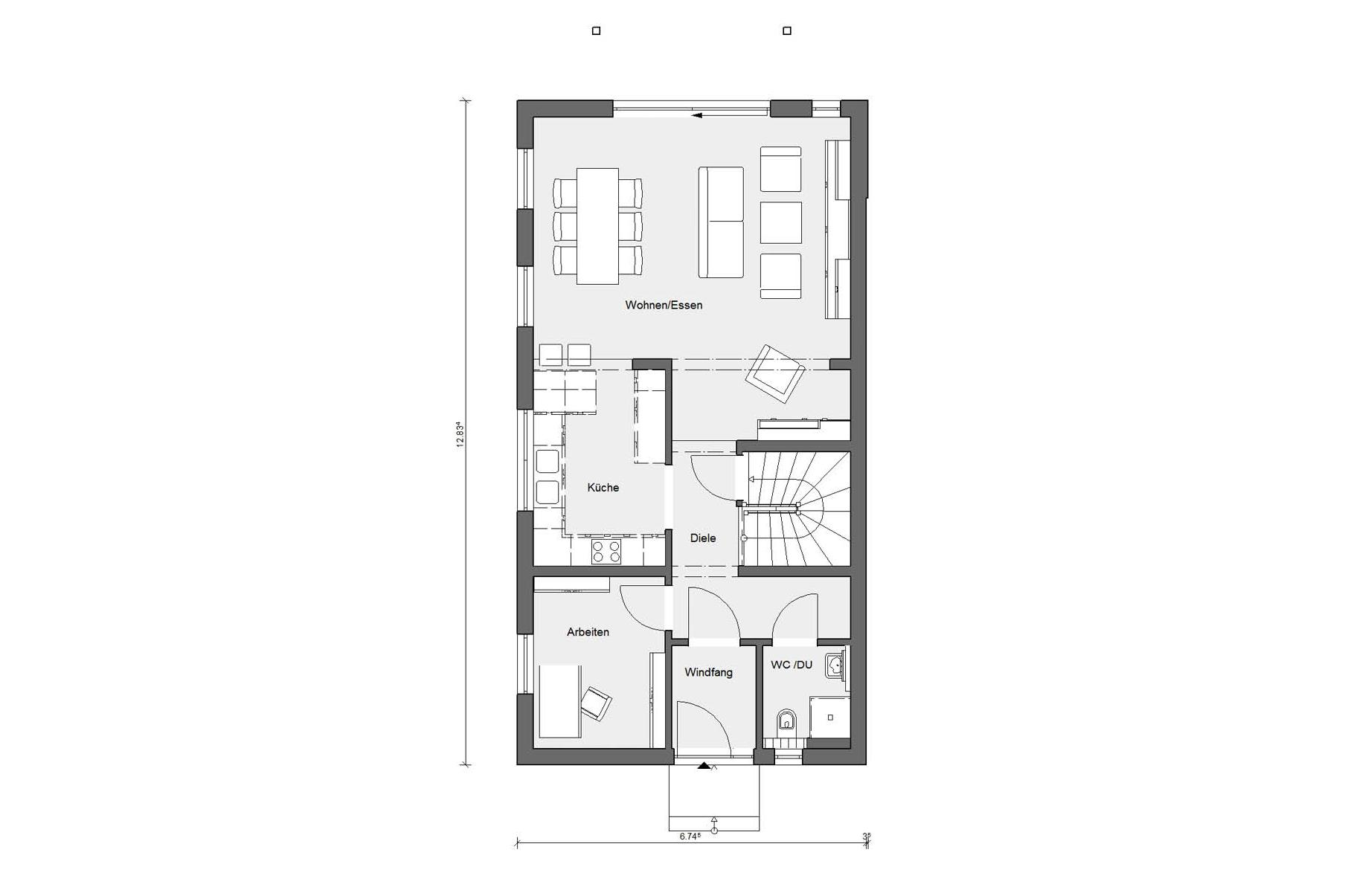 Floor plan ground floor D 15-216.1 terraced house