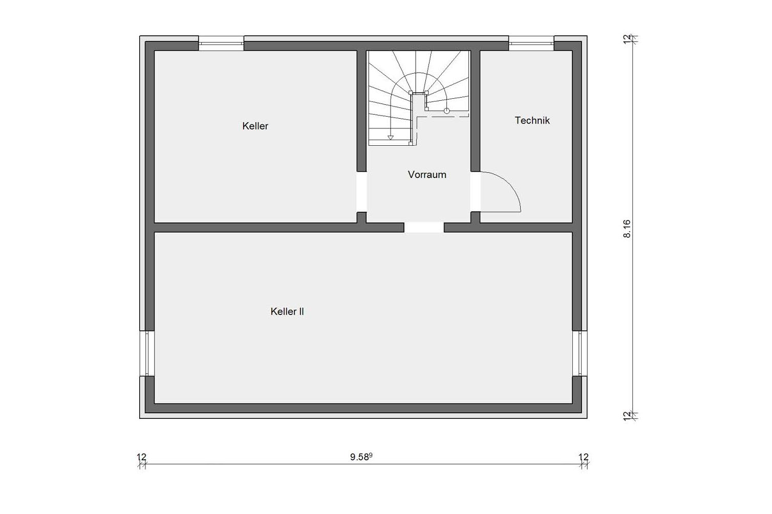 Floor plan basement E 15-137.4 Detached house with pitched roof