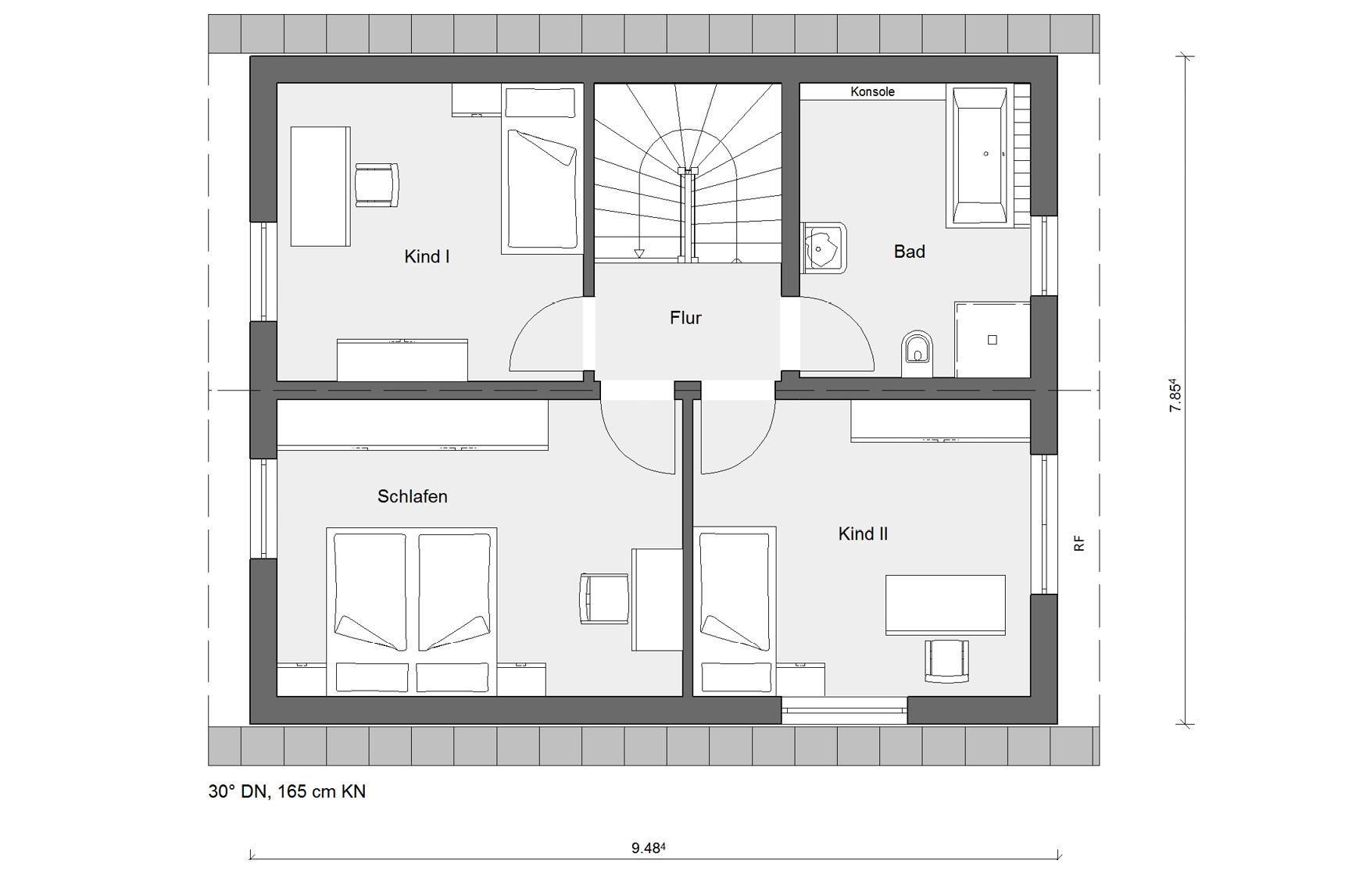 Floor plan top floor E 15-121.9 House with pitched roof
