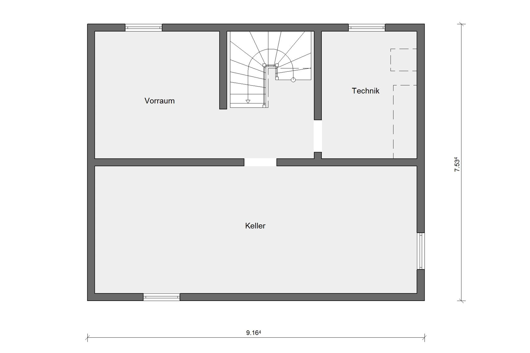 Floor plan basement E 15-121.9 House with pitched roof