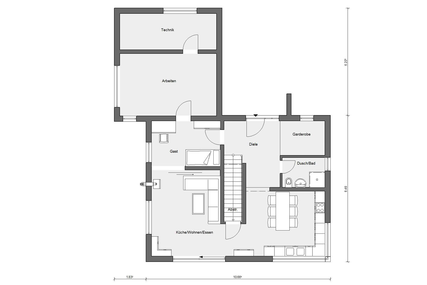 Floor plan E 15-179.1 The energy house for families