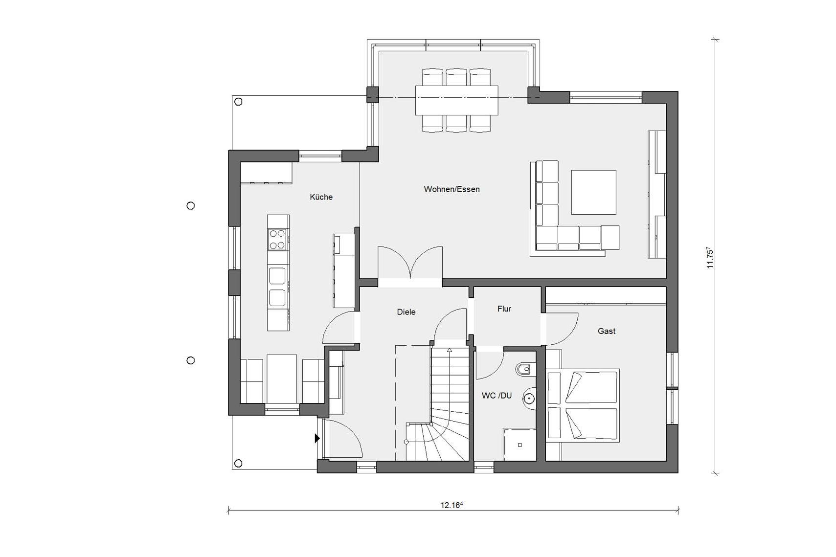 Ground floor plan E 15-205.1 House with conservatory