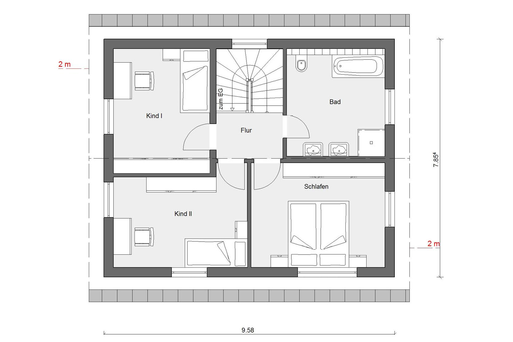 Attic floor plan E 15-123.4 compact family house